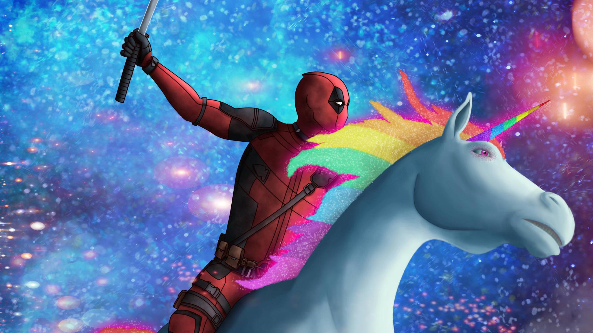 2048x1152 Deadpool On Unicorn 2048x1152 Resolution Hd 4k Wallpapers