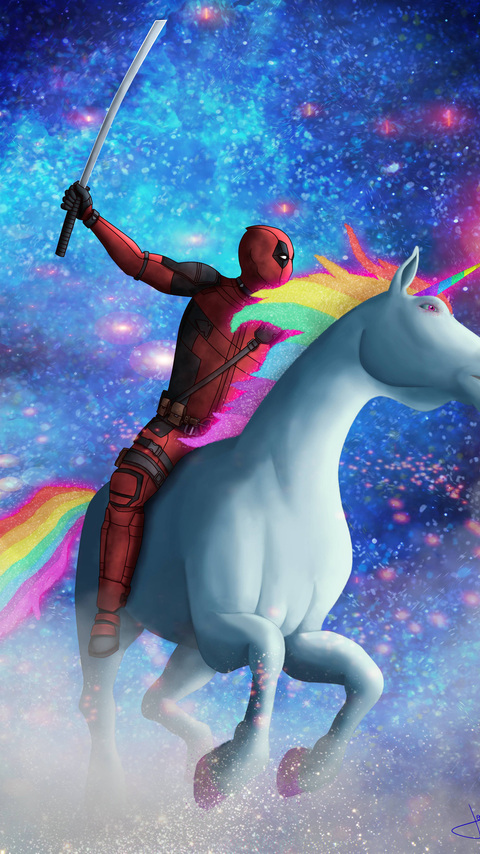 480x854 Deadpool On Unicorn Android One Hd 4k Wallpapers Images