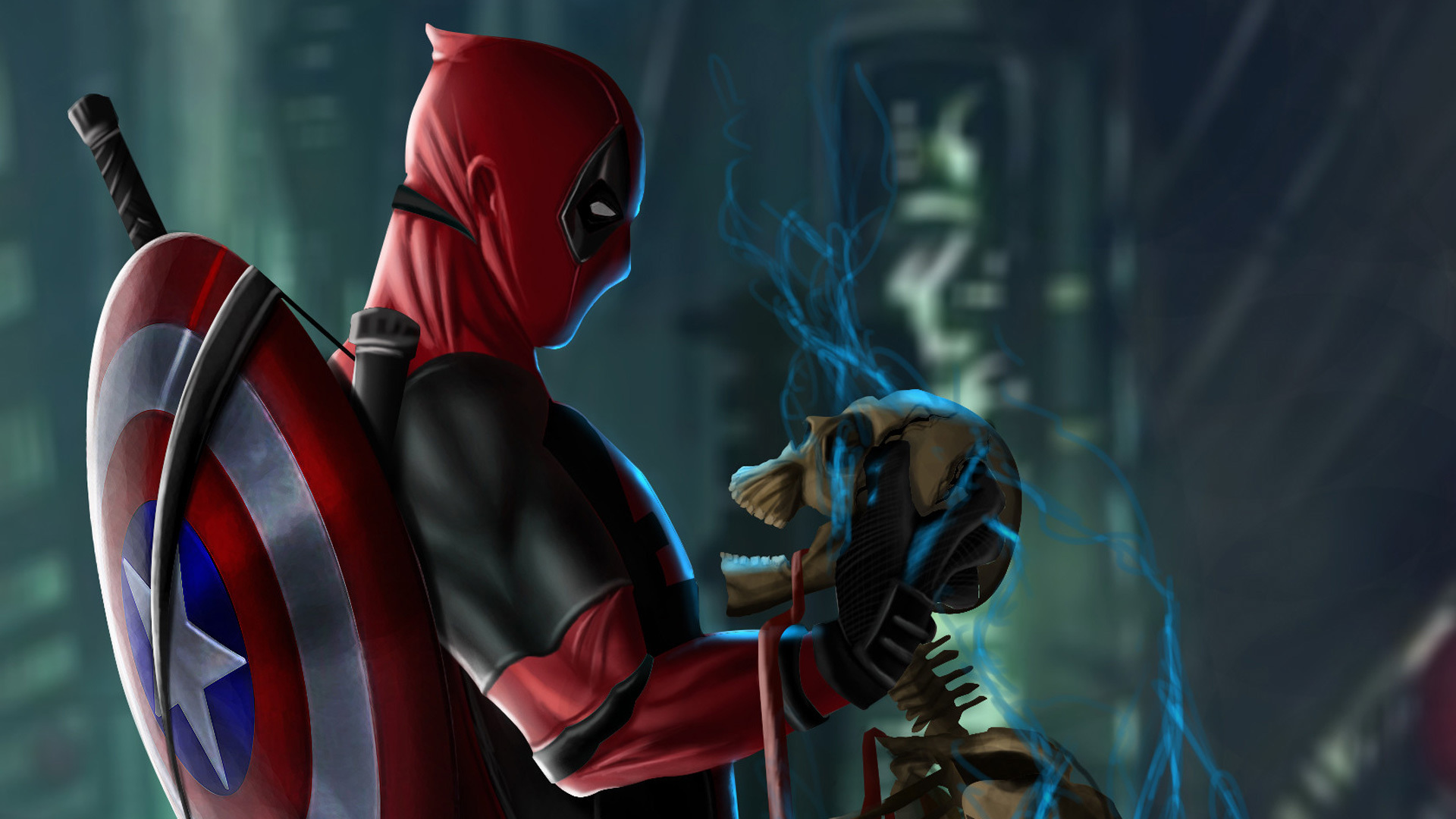 1920x1080 Deadpool With Captain America Shield Laptop Full Hd 1080p