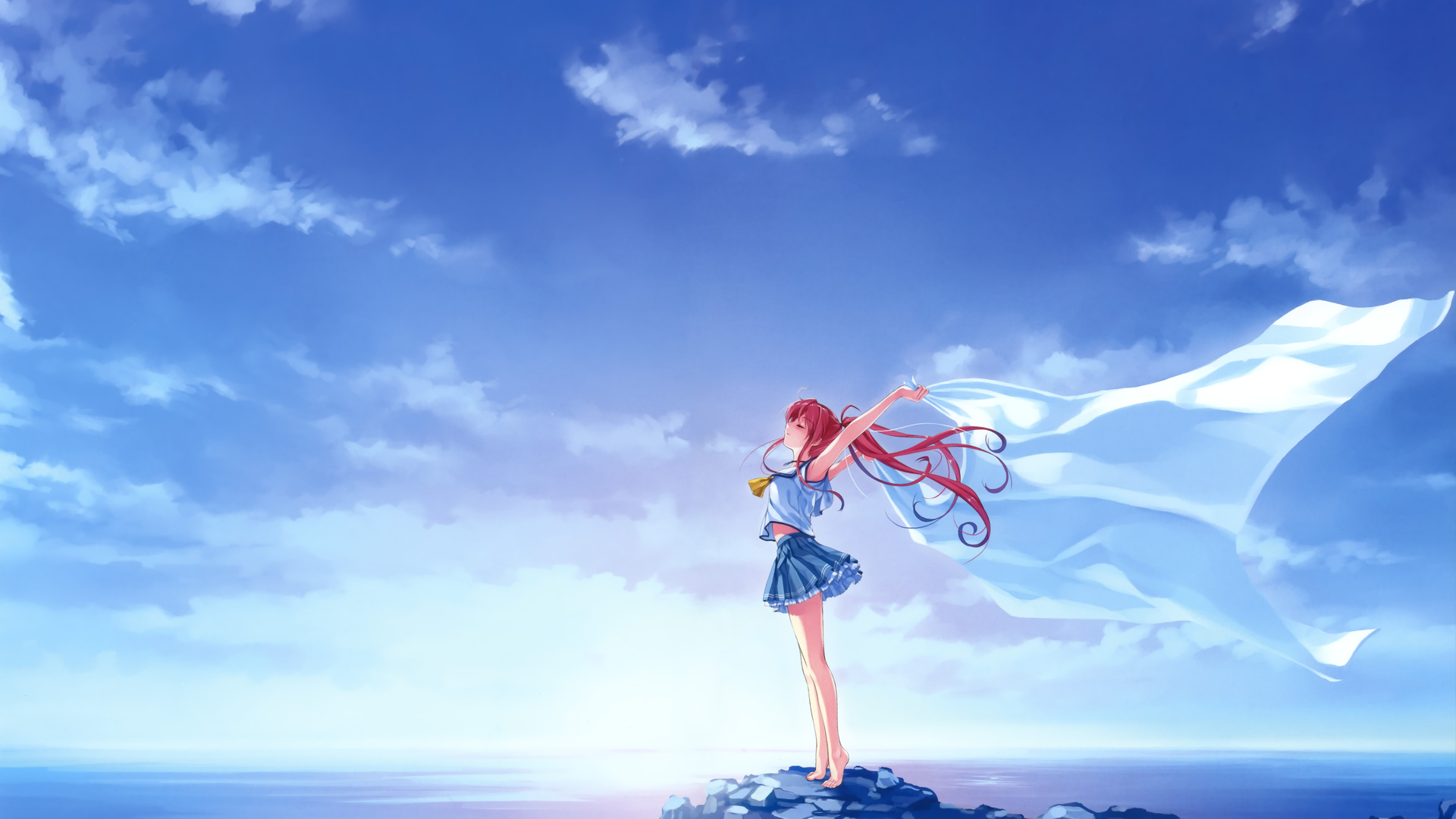 1920x1080 deep blue sky and pure white wings laptop full - Blue anime wallpaper ...