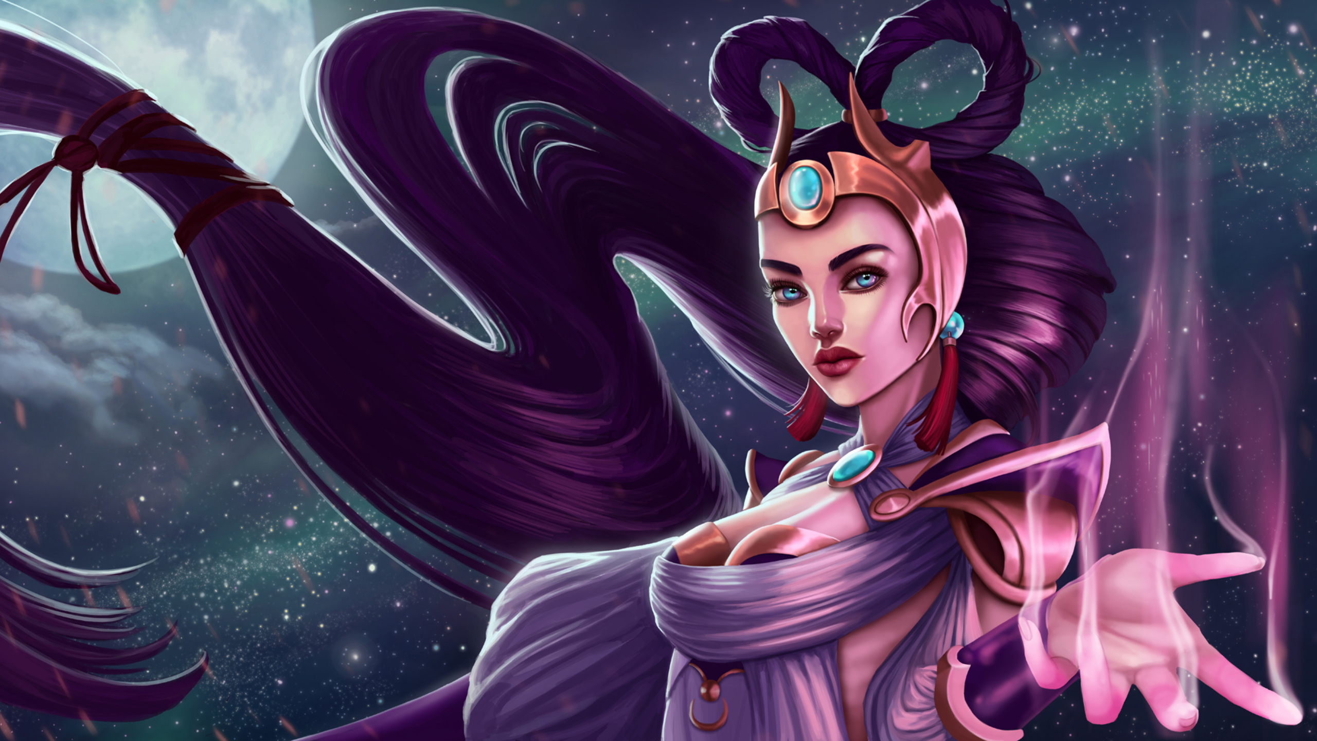 2560x1440 Diana League Of Legends Fantasy Girl 1440p Resolution Hd