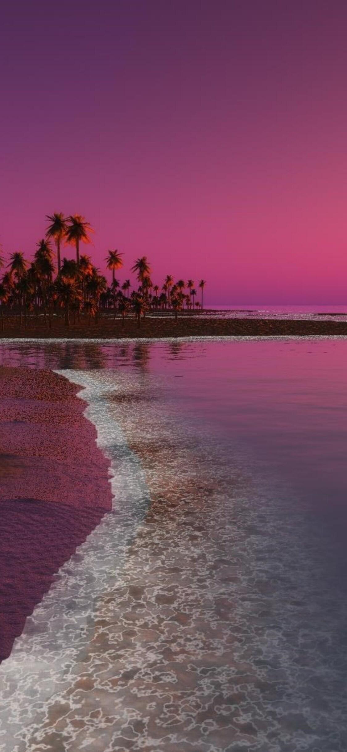 1125x2436 Digital Coastal Beach Sunset Iphone Xs Iphone 10 Iphone X