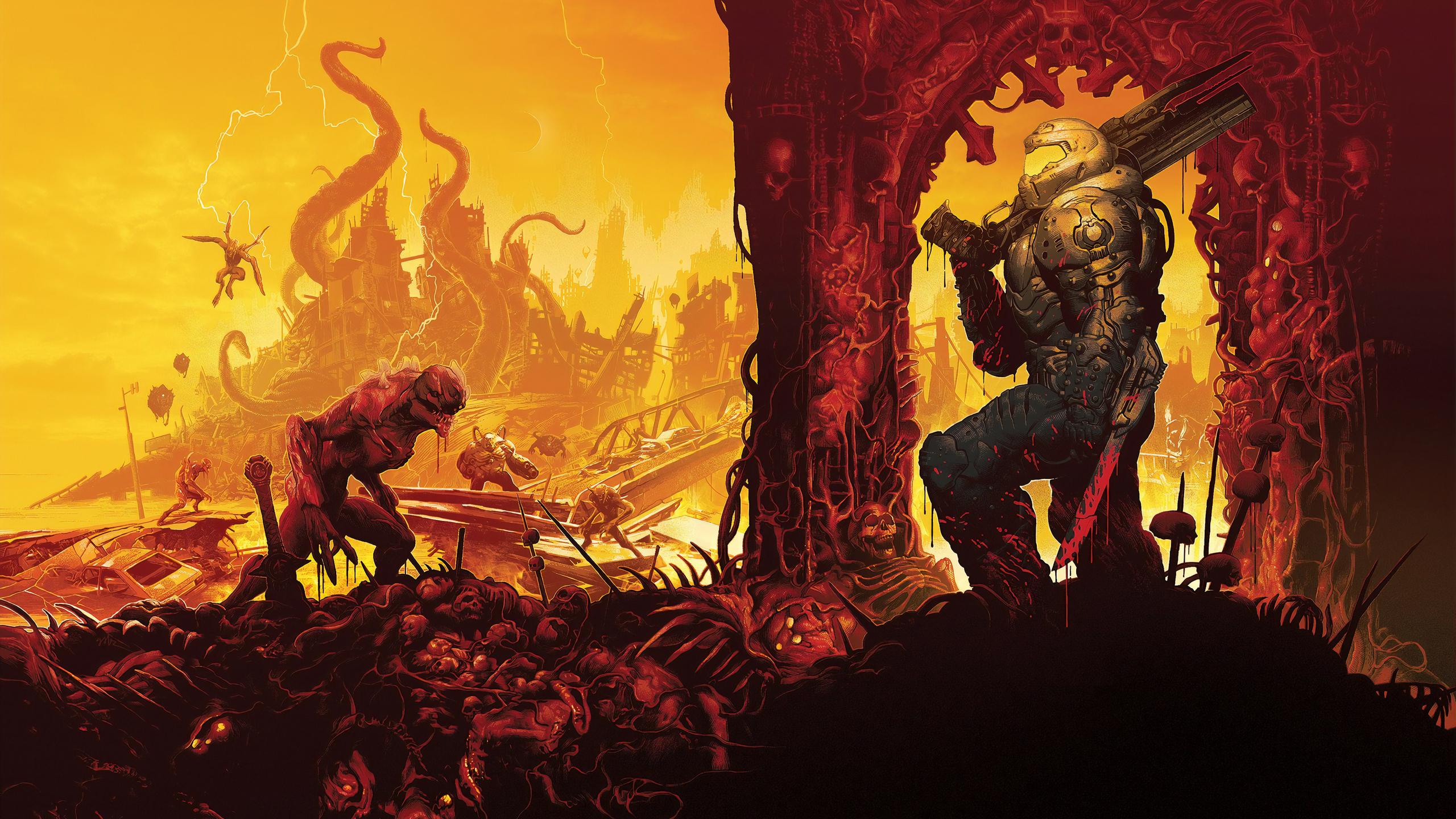 doom eternal wallpaper 1440p