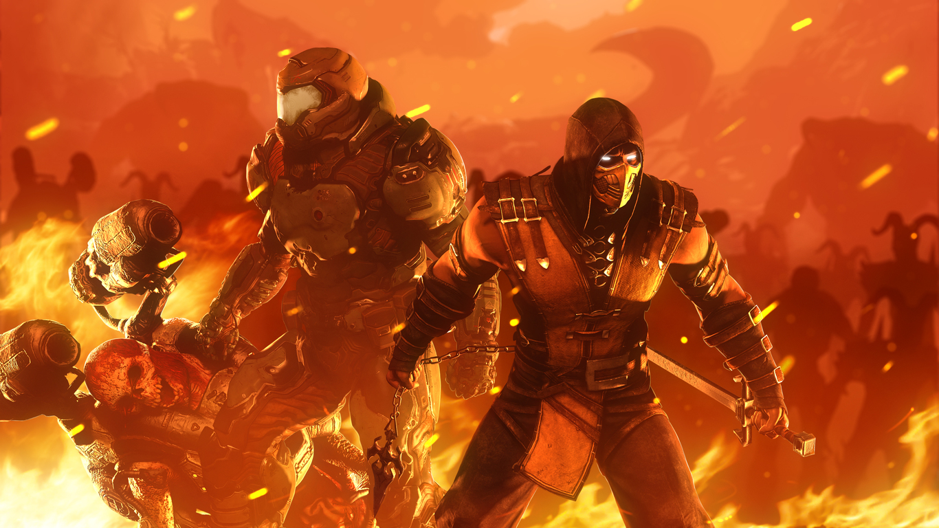 1366x768 Doomslayer Vs Scorpion 1366x768 Resolution Hd 4k Wallpapers Images Backgrounds Photos And Pictures