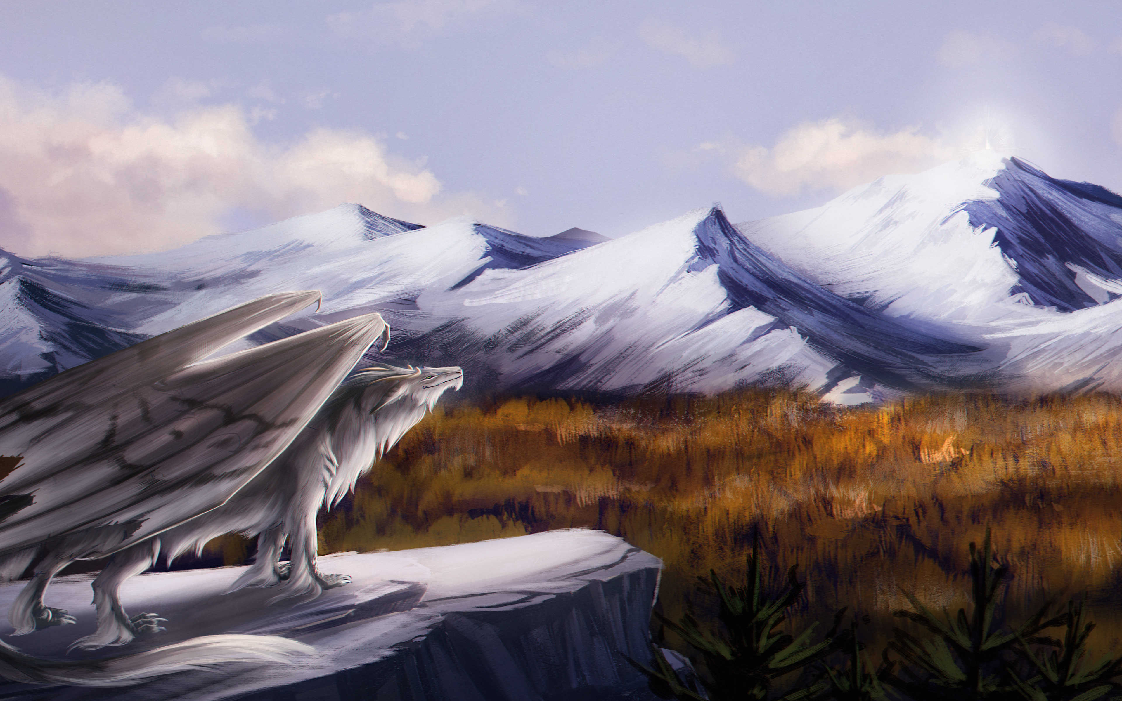 Beautiful Wallpaper Mountain Art - dragon-feral-landscape-fantasy-mountain-art-5k-pv-3840x2400  You Should Have_369344.jpg