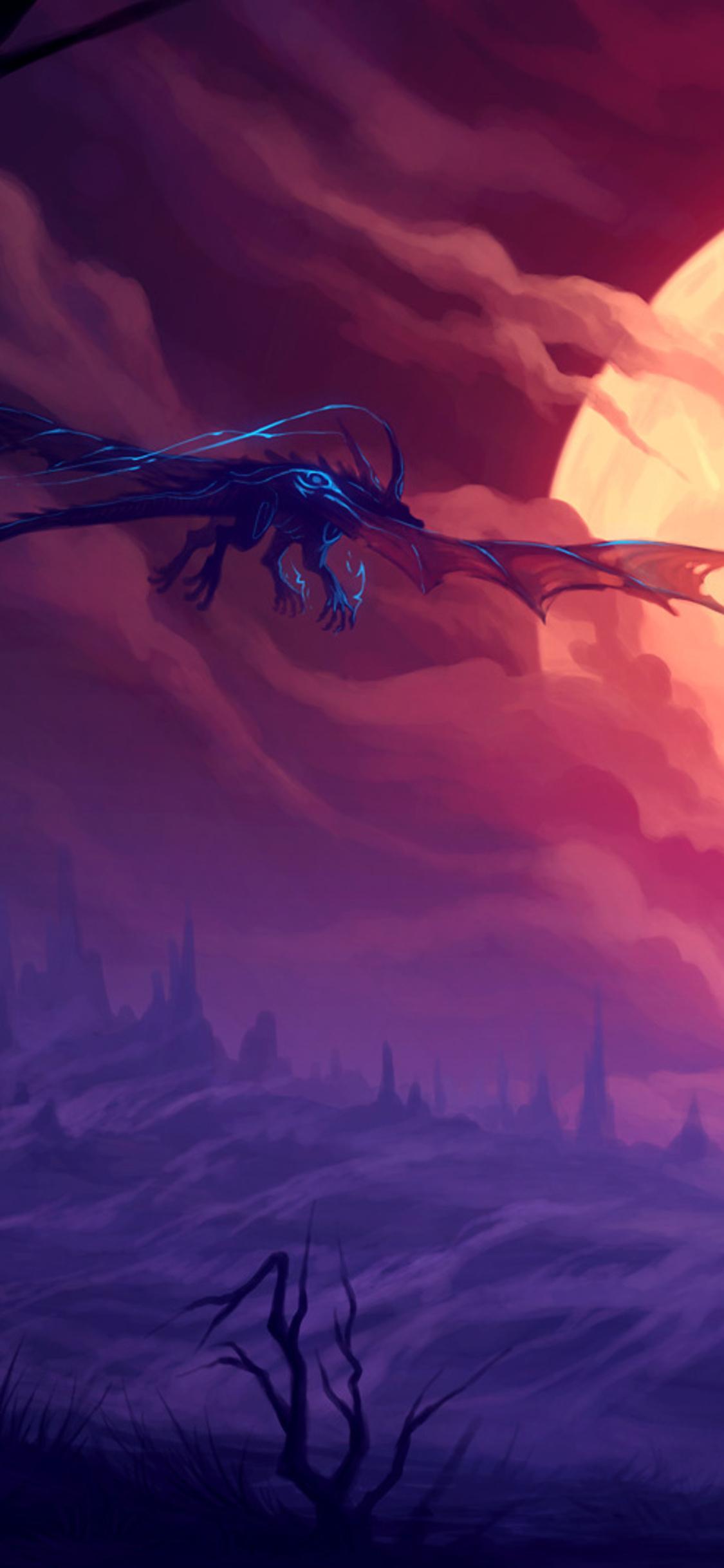 1125x2436 Dragon Flying Towards Moon Fantasy Iphone Xs