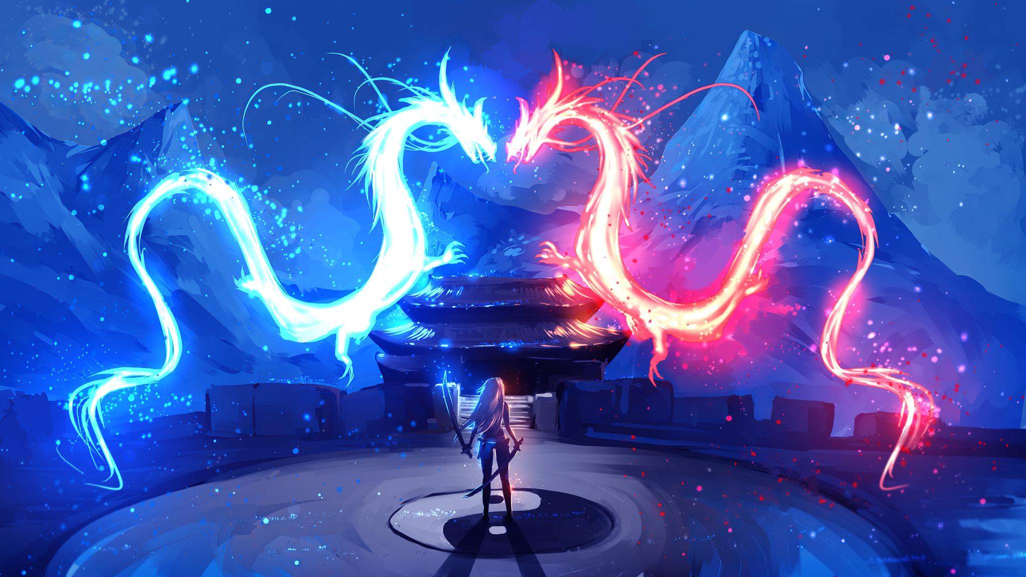2048x1152 Dragon Red Blue Colorful Art 4k 2048x1152 ...