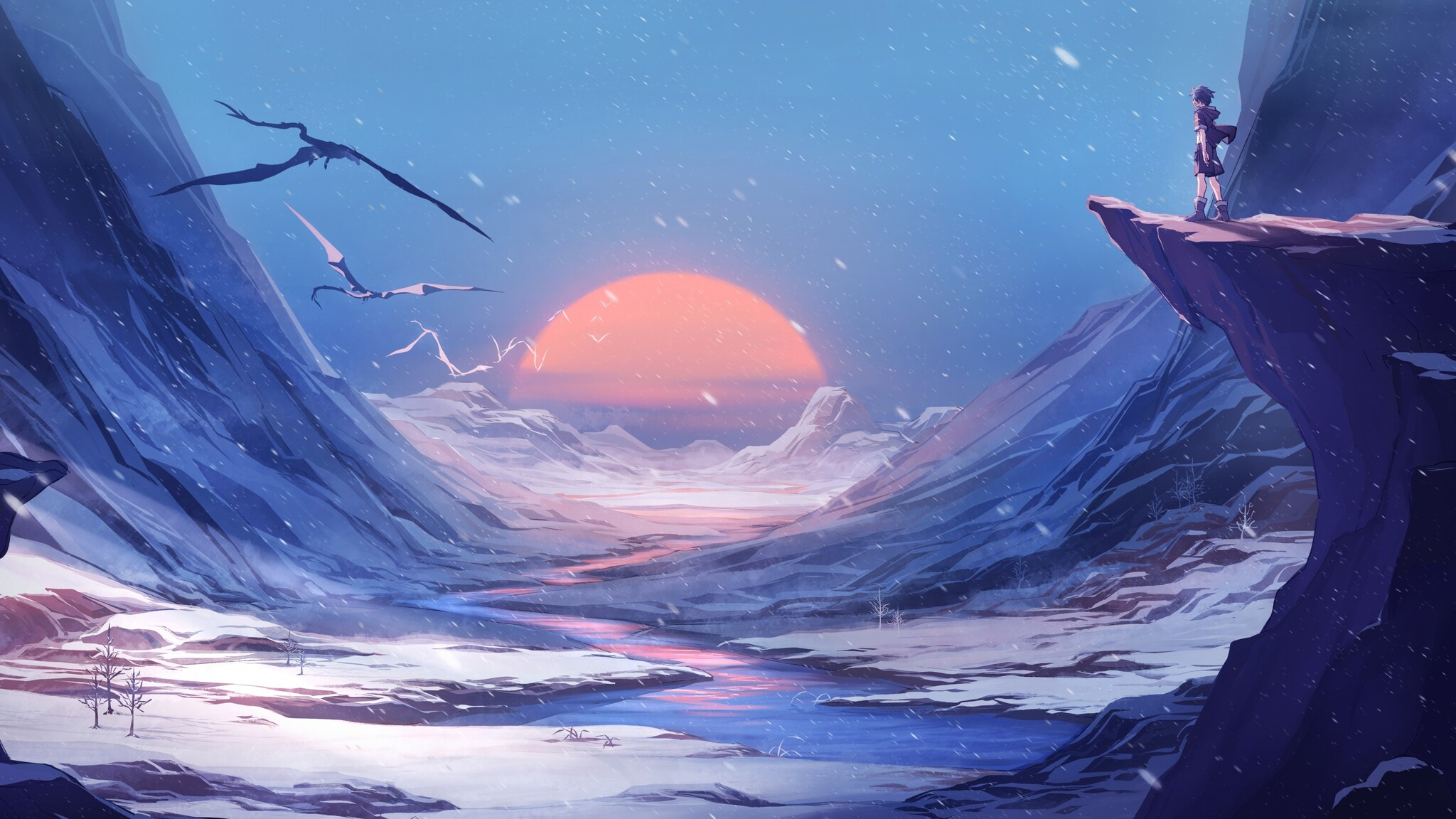 2048x1152 Dragon Winter Snow Anime Manga 4k 2048x1152