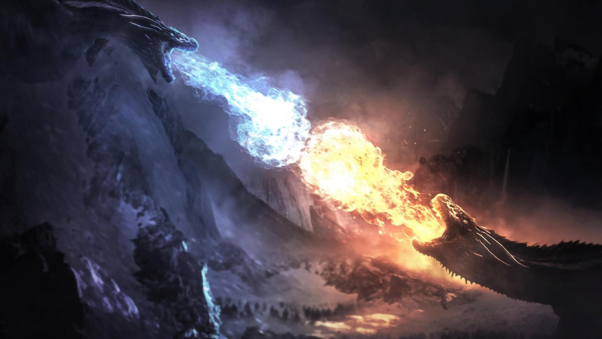 1920x1080 Dragons Fight Game Of Thrones Season 8 Laptop ...