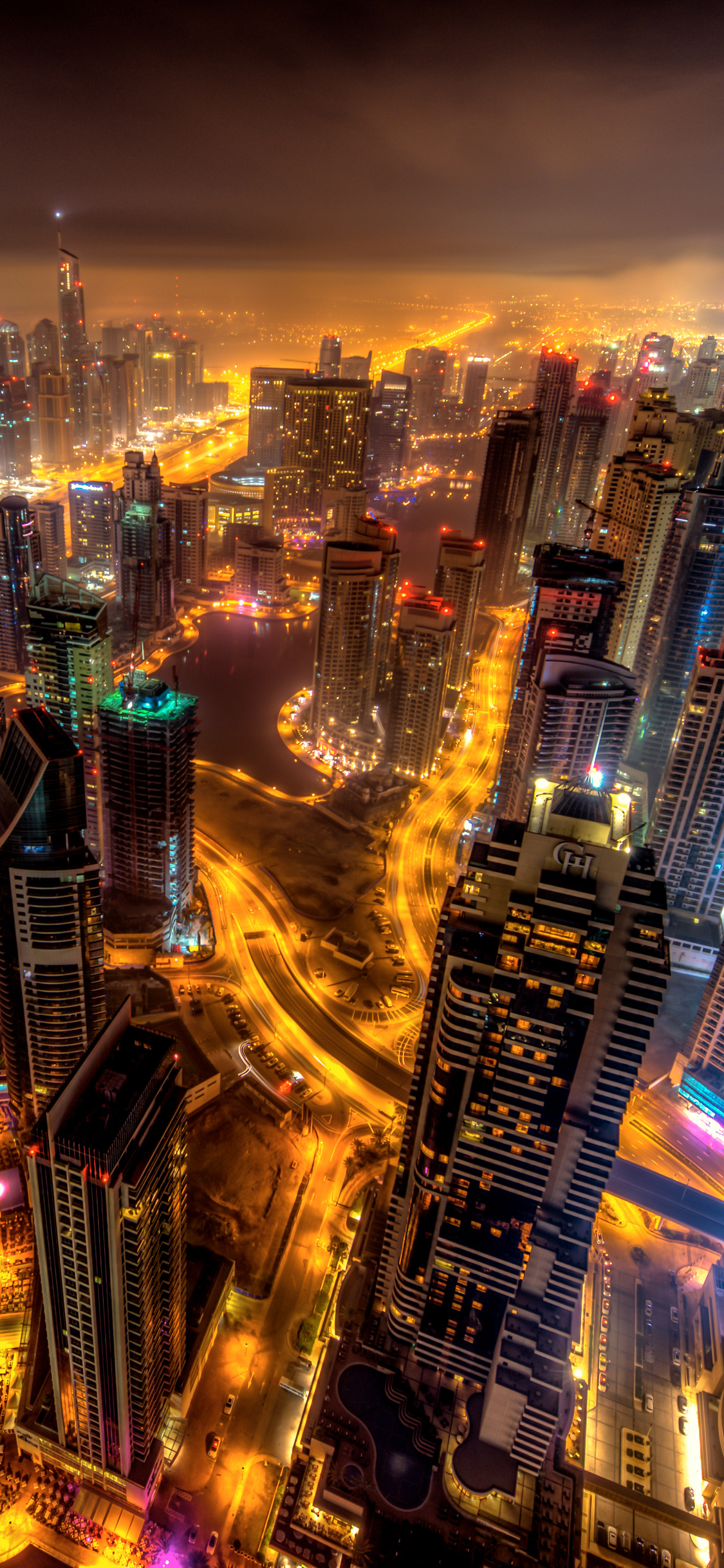 1125x2436 Dubai Buildings Night Lights Top View 8k Iphone