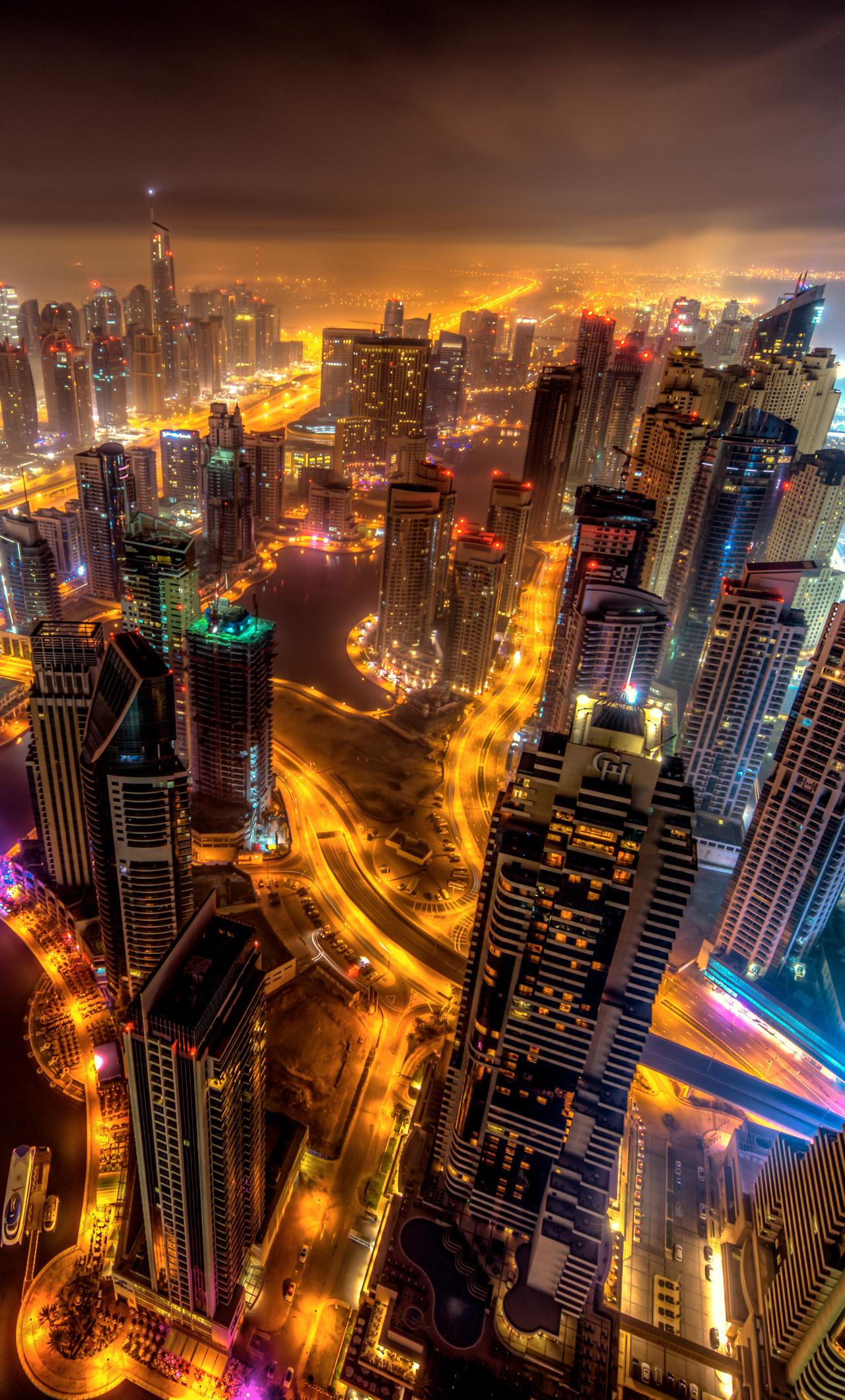 Popular Wallpaper Night Dubai - dubai-buildings-night-lights-top-view-8k-sb-1280x2120  Best Photo Reference-649033.jpg
