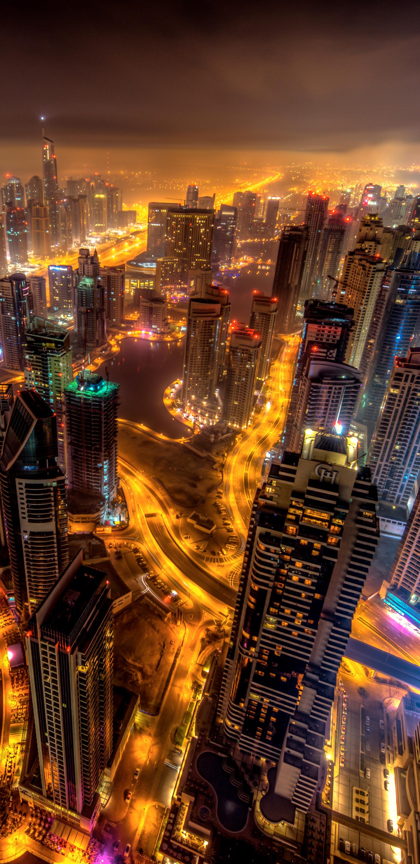 1440x2960 dubai buildings night lights top view 8k samsung galaxy s8