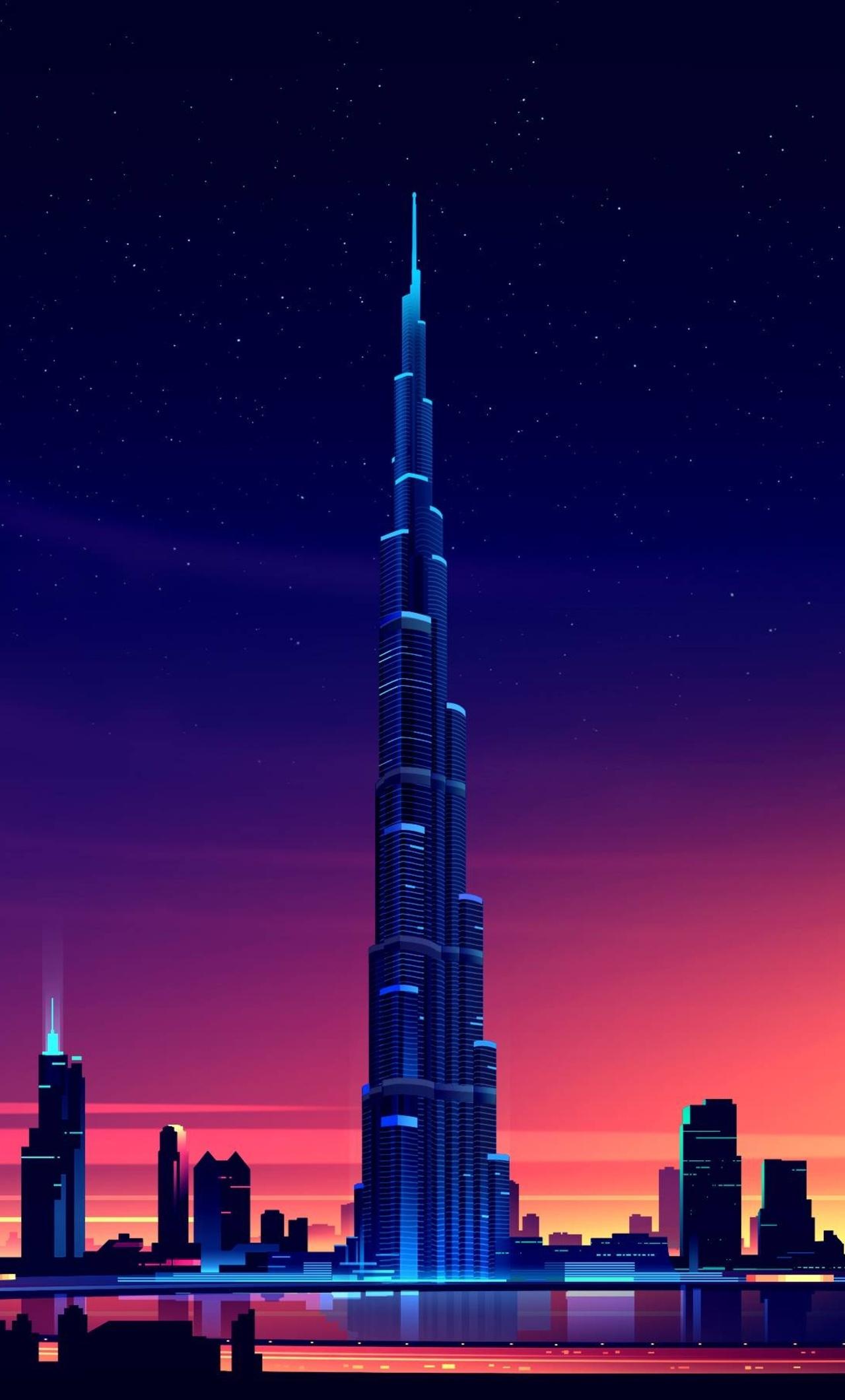 1280x2120 Dubai Burj Khalifa Minimalist Iphone 6 Hd 4k Wallpapers