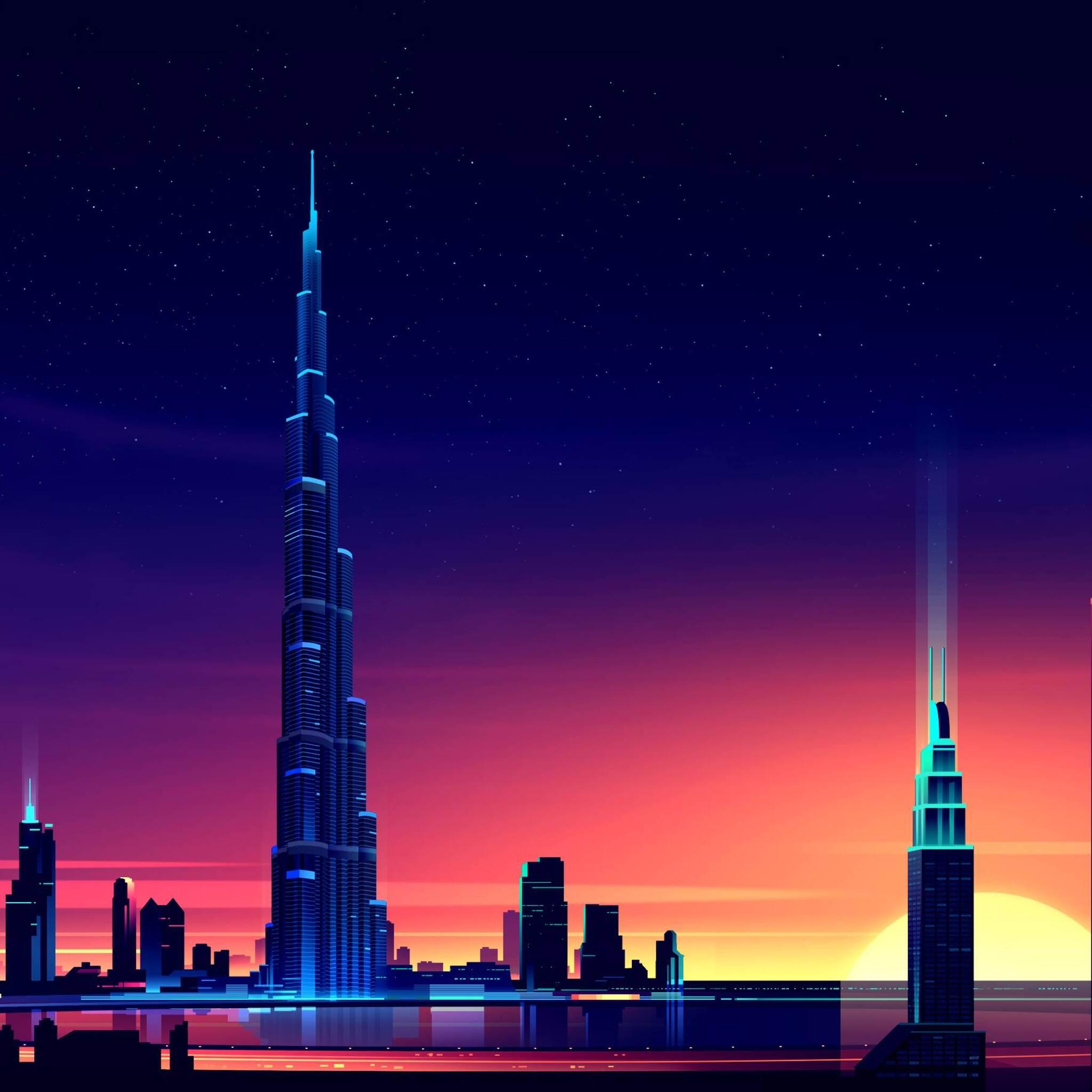 2048x2048 dubai burj khalifa minimalist ipad air hd 4k - Dubai burj khalifa hd wallpaper ...