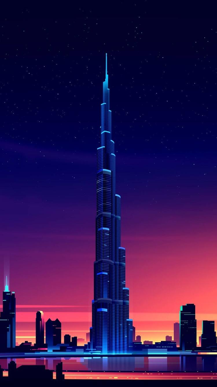 750x1334 dubai burj khalifa minimalist iphone 6 iphone 6s - Dubai burj khalifa hd wallpaper ...