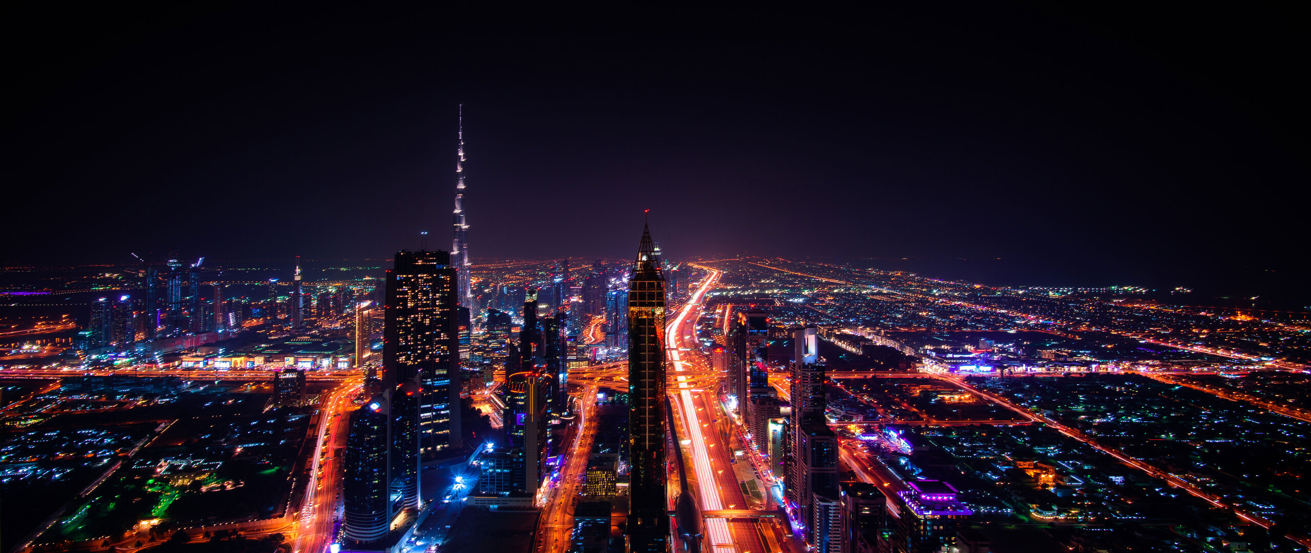 2560x1080 Dubai Cityscape Buildings Lights 8k 2560x1080