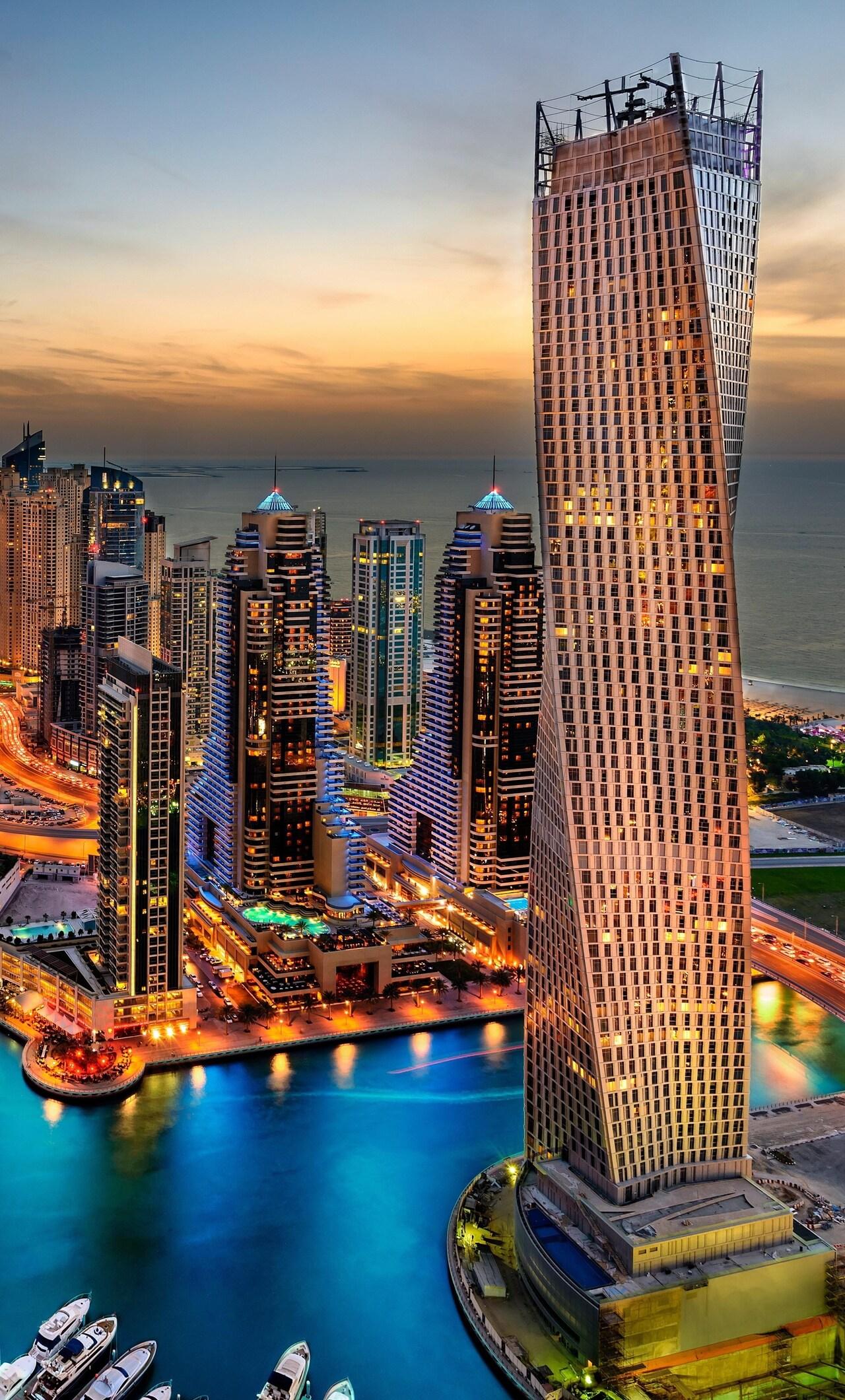 1280x2120 Dubai Uae Building Skyscrappers Night iPhone 6 ...