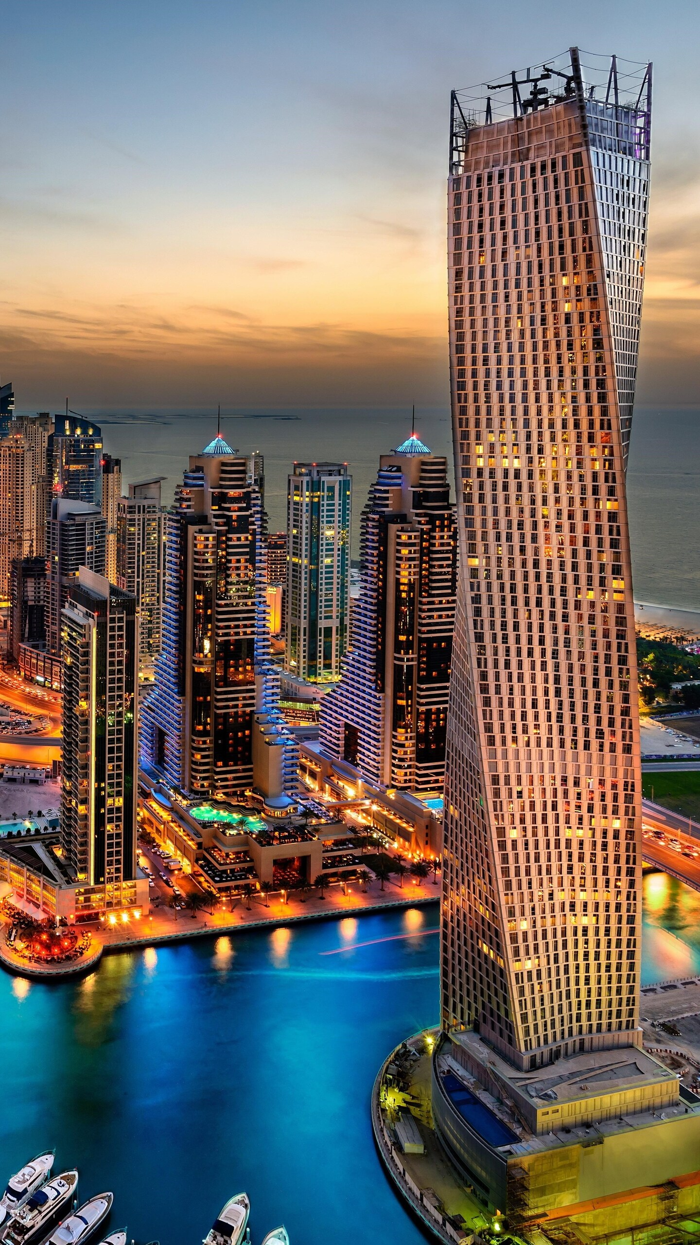 1440x2560 dubai uae building skyscrappers night samsung - Wallpaper hd 4k ...