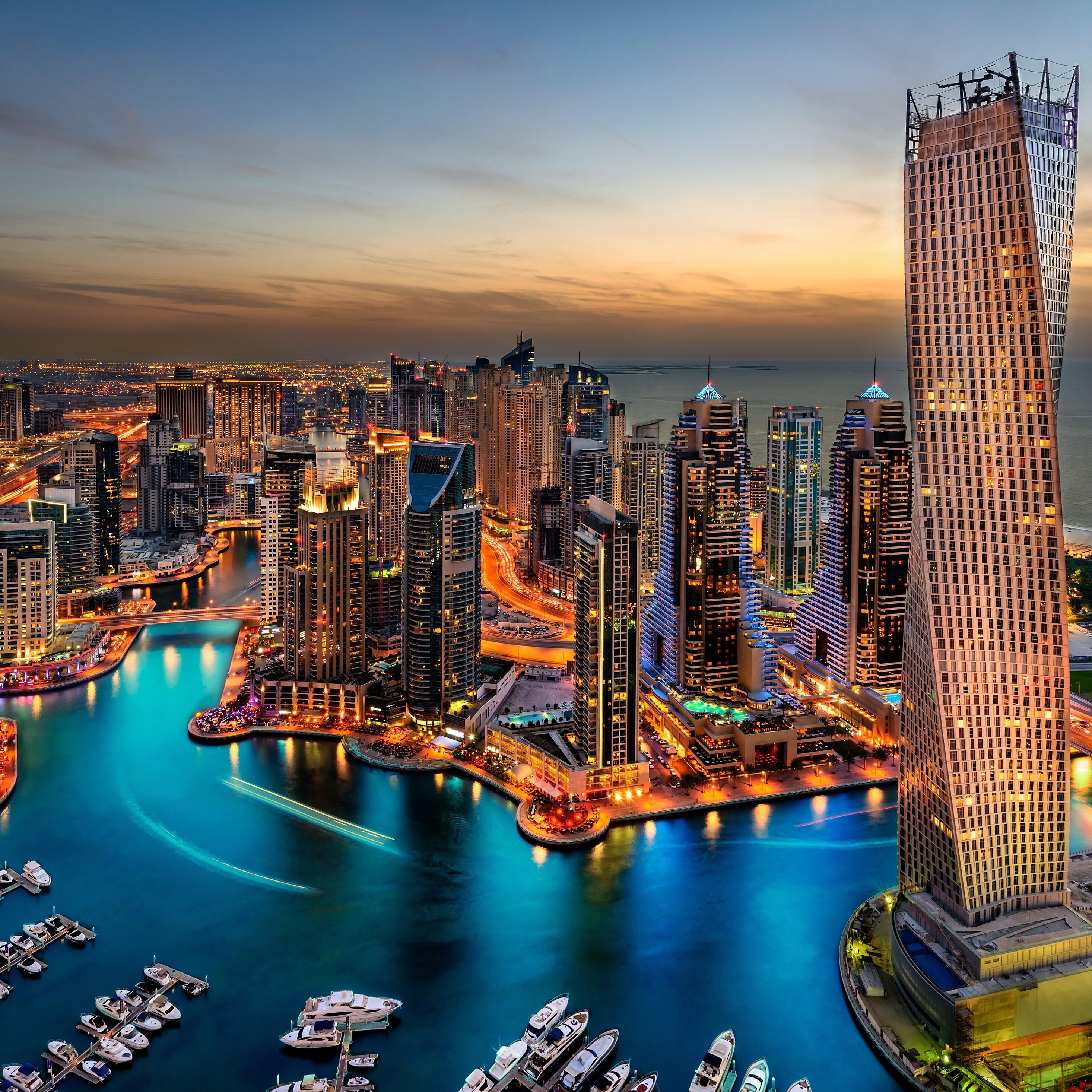 2932x2932 Dubai Uae Building Skyscrappers Night Ipad Pro