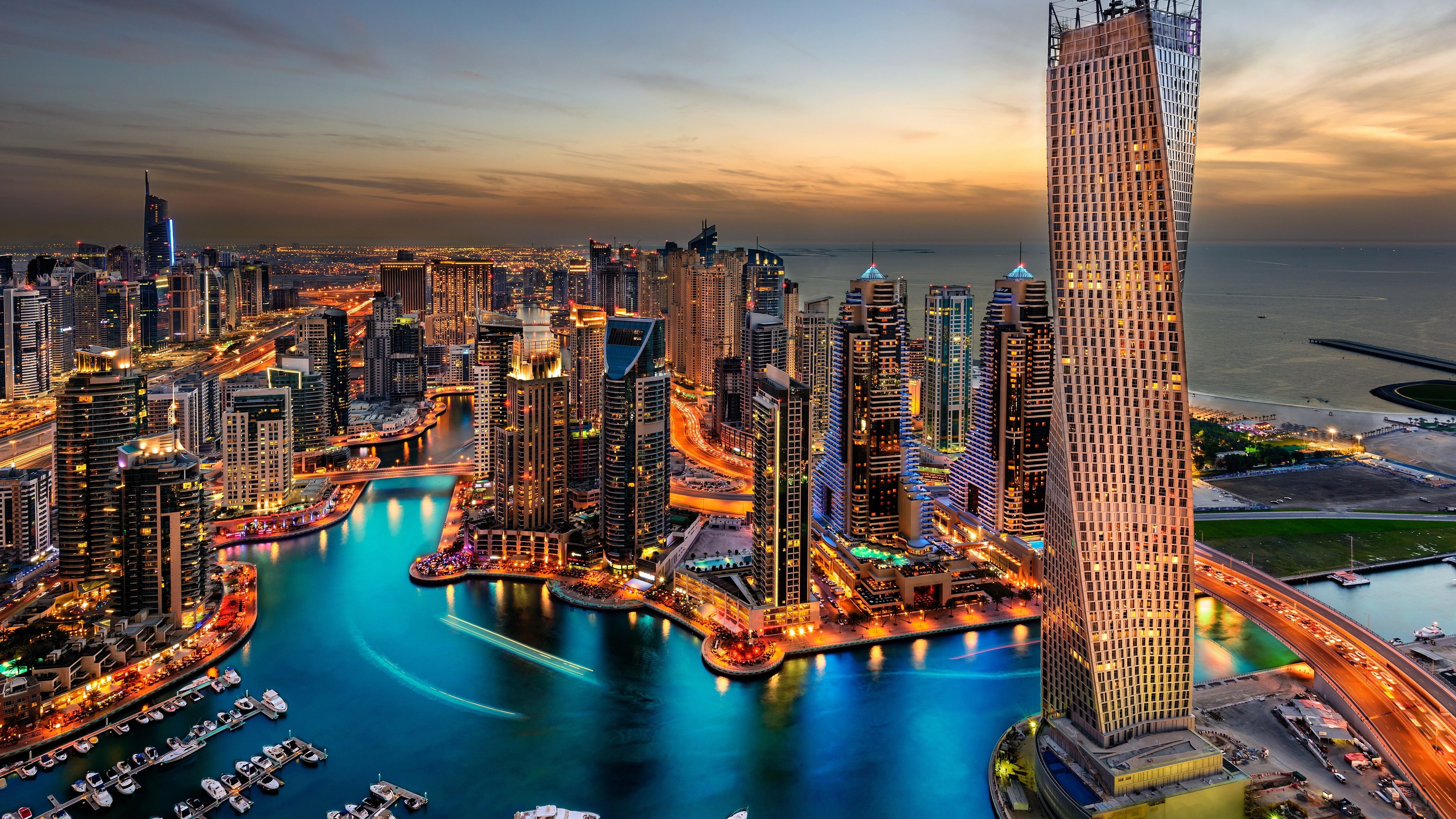 5120x2880 Dubai Uae Building Skyscrappers Night 5k Hd 4k Wallpapers