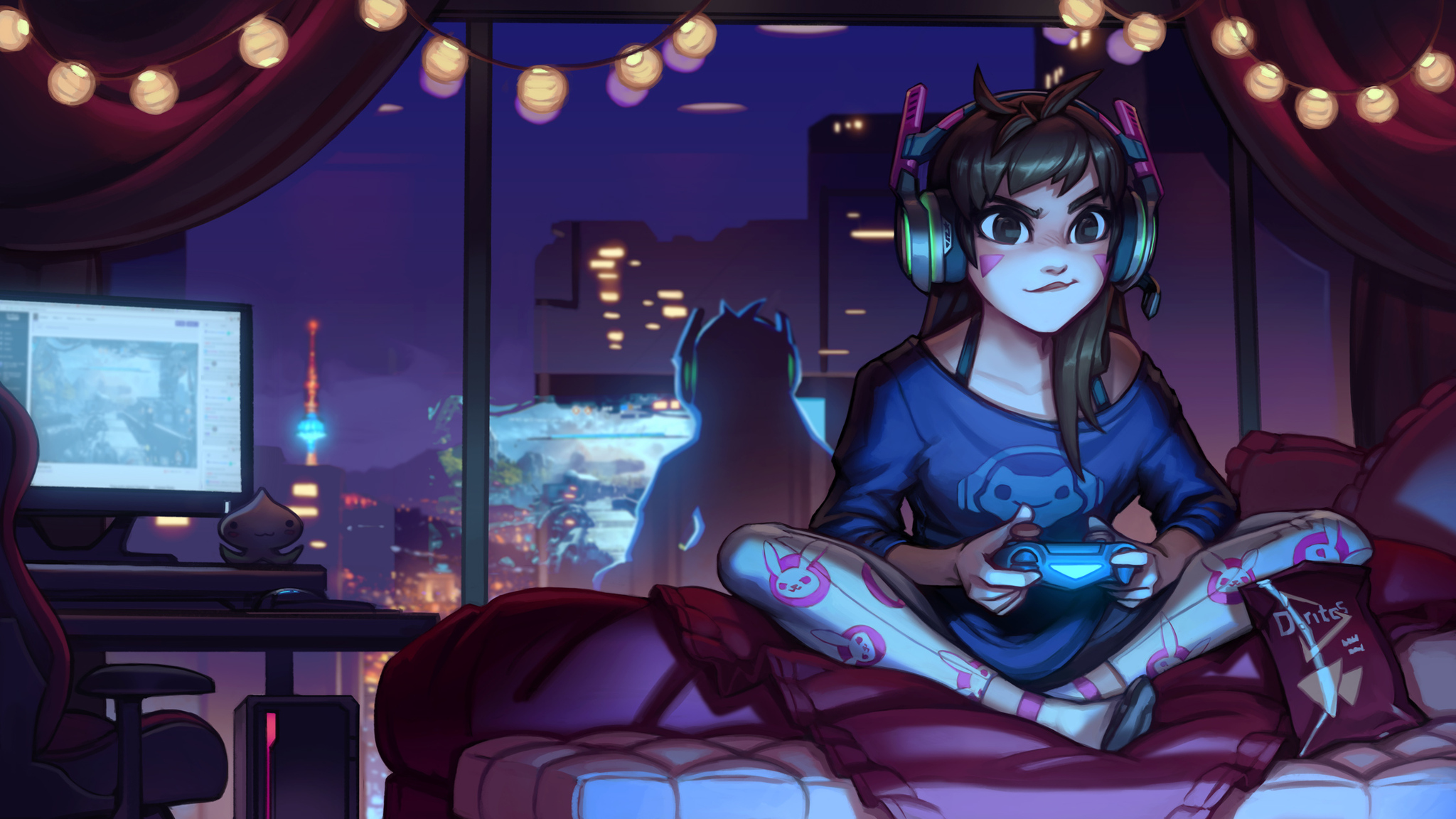 2048x1152 Dva Overwatch Cute Artwork 2048x1152 Resolution Hd 4k