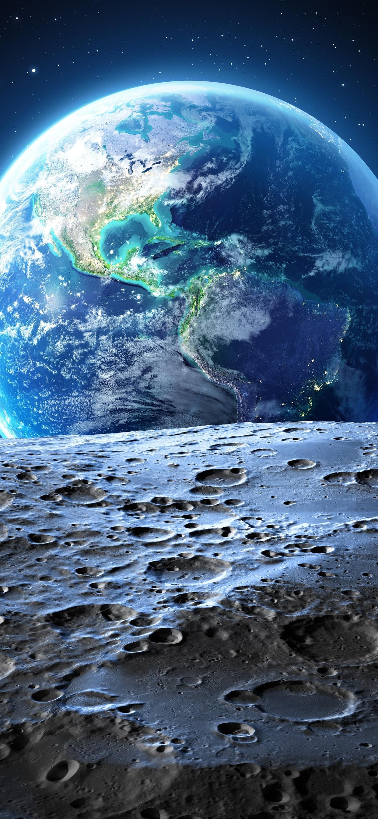 1242x2688 Earth Moon 4k Iphone Xs Max Hd 4k Wallpapers