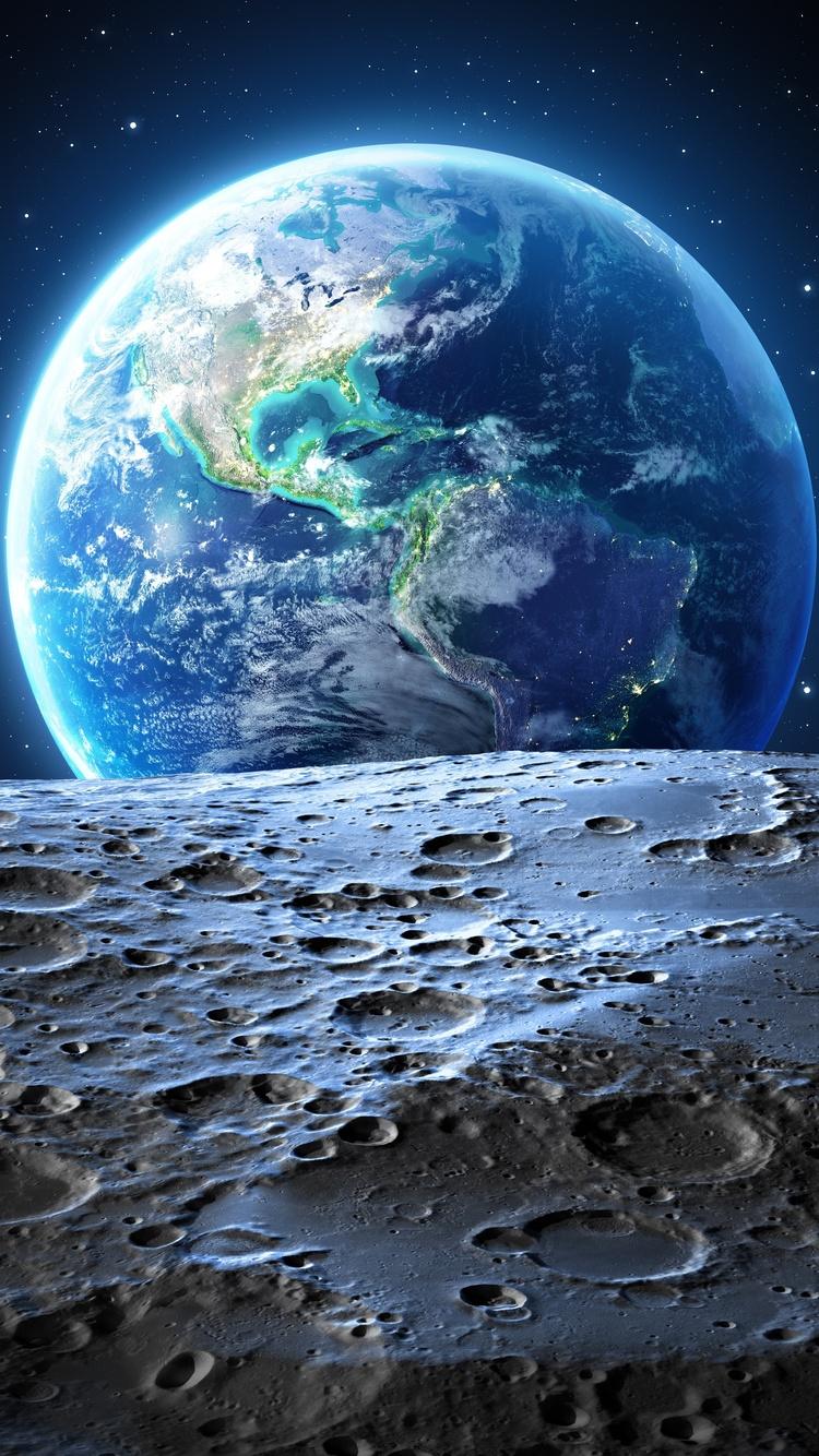 750x1334 Earth Moon 4k Iphone 6 Iphone 6s Iphone 7 Hd 4k