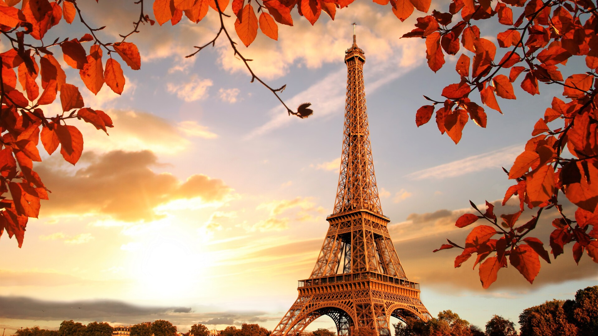 1920x1080 Eiffel Tower Autumn Season 4k 5k Laptop Full Hd 1080p Hd
