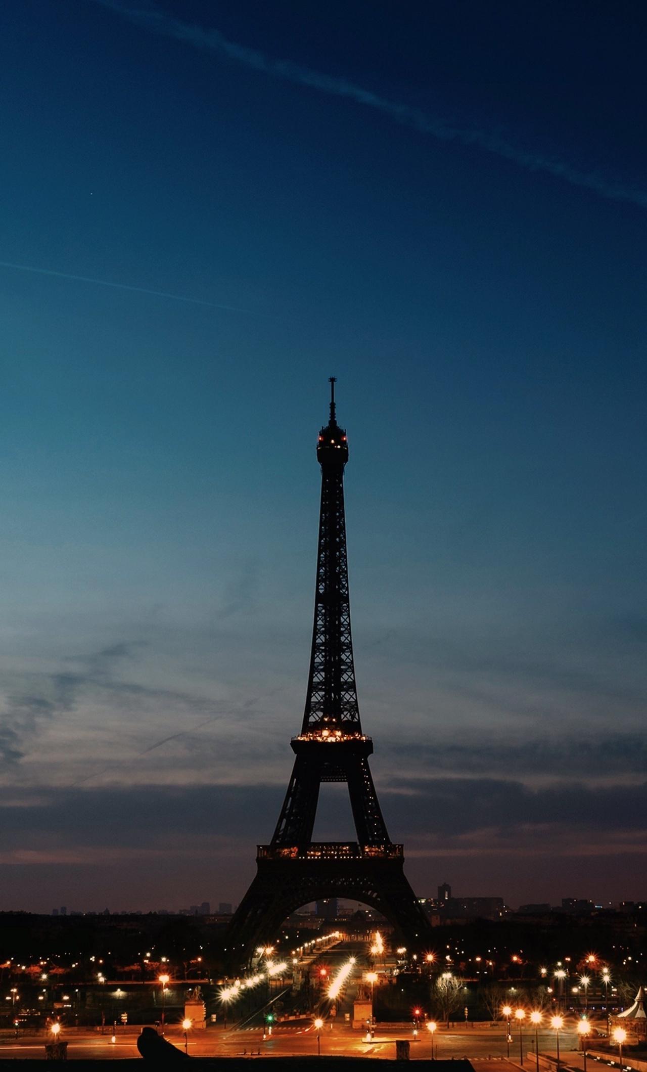 1280x2120 Eiffel Tower Night Time Clear Sky Iphone 6 Hd 4k