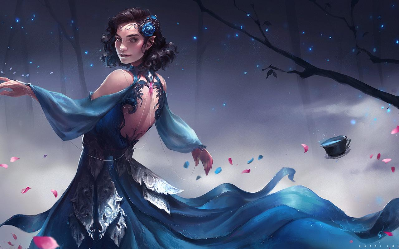 1280x800 elf fantasy girl in blue dress 720p hd 4k - Fantasy wallpaper 720p ...