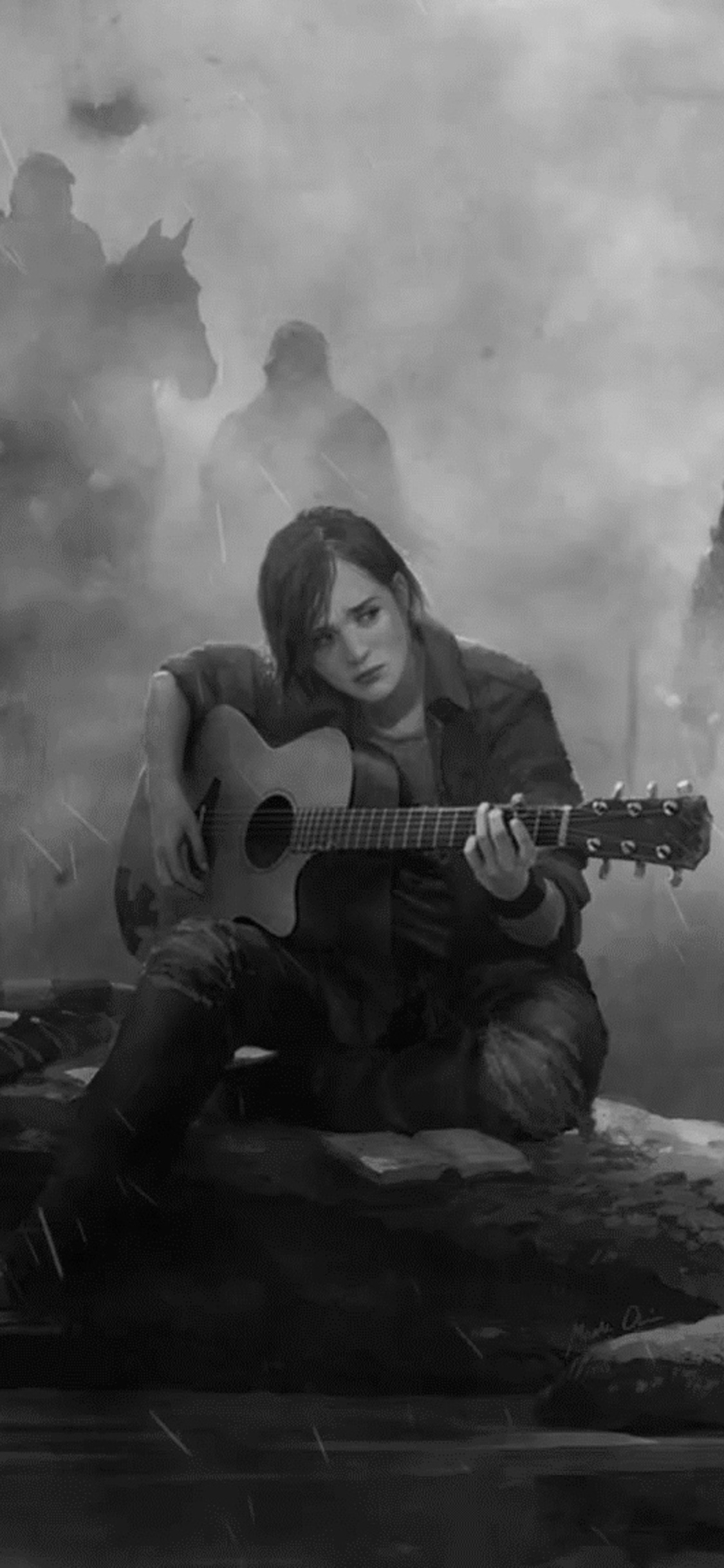 1125x2436 Ellie The Last Of Us Part 2 Guitar Monochrome Iphone Xs Iphone 10 Iphone X Hd 4k Wallpapers Images Backgrounds Photos And Pictures