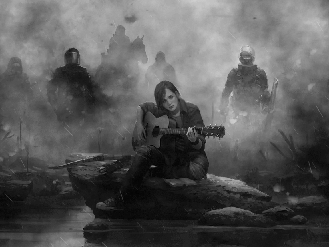 1152x864 Ellie The Last Of Us Part 2 Guitar Monochrome 1152x864