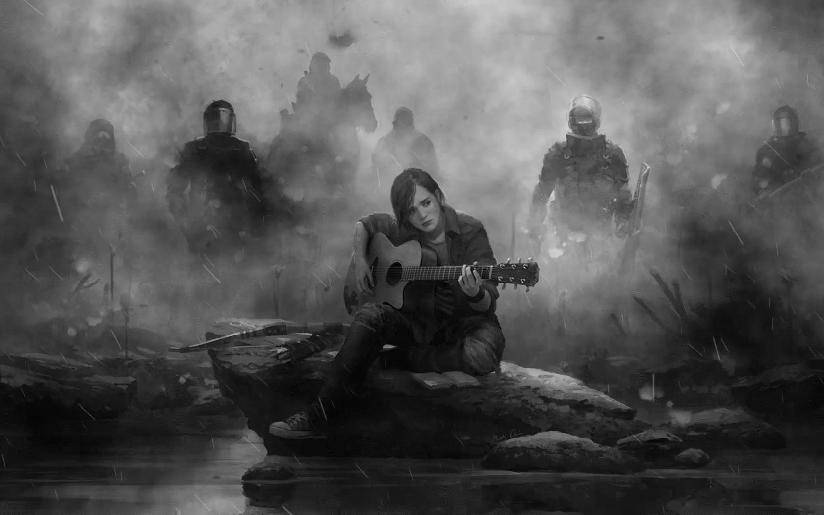1680x1050 Ellie The Last Of Us Part 2 Guitar Monochrome 1680x1050