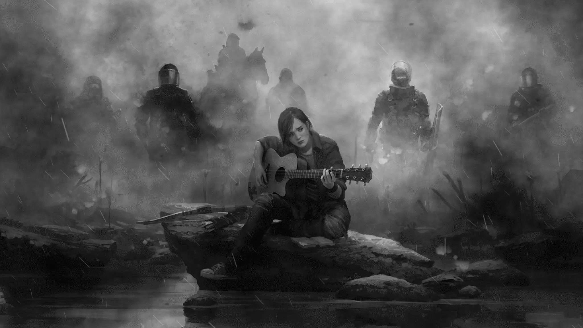 2048x1152 Ellie The Last Of Us Part 2 Guitar Monochrome