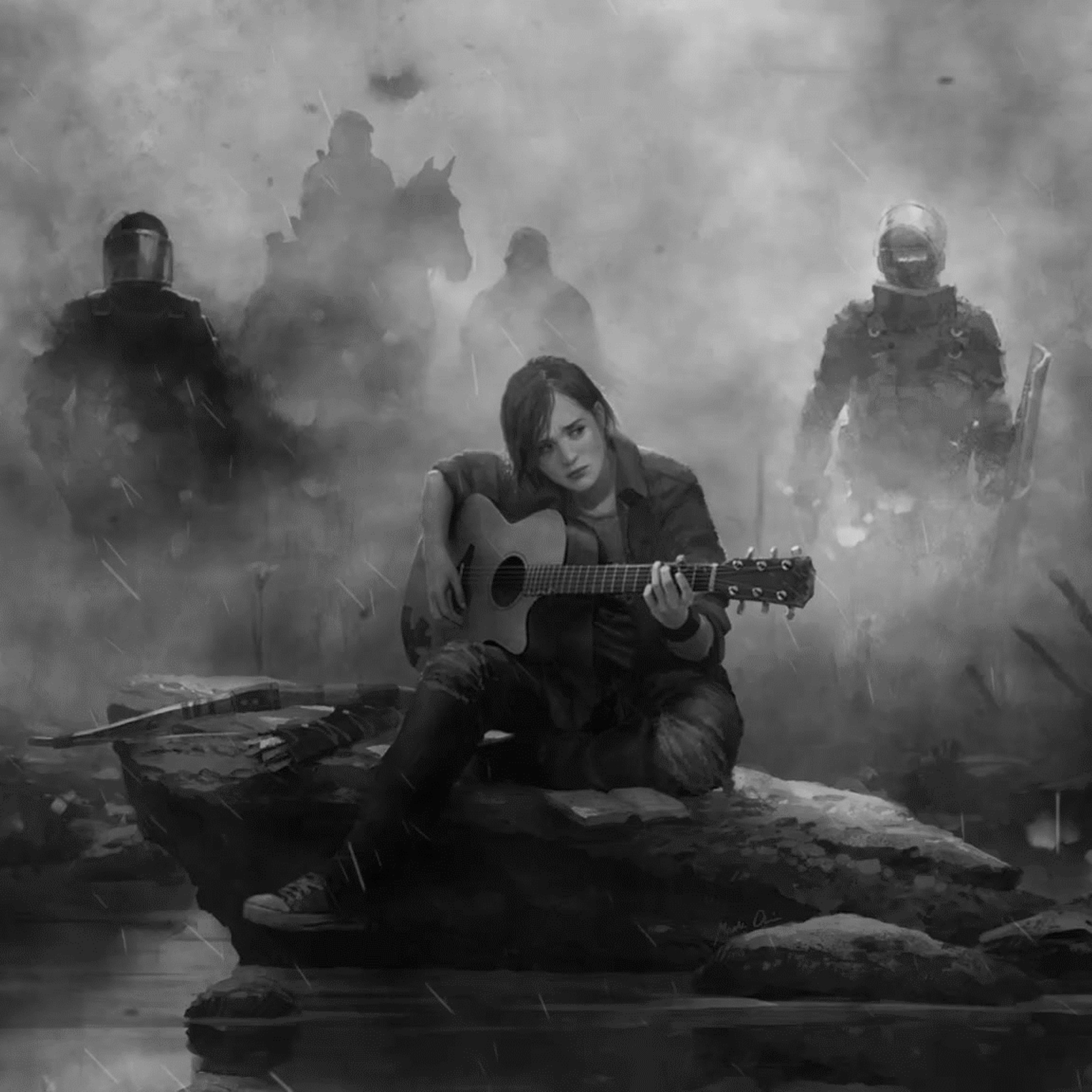 2048x2048 Ellie The Last Of Us Part 2 Guitar Monochrome Ipad Air