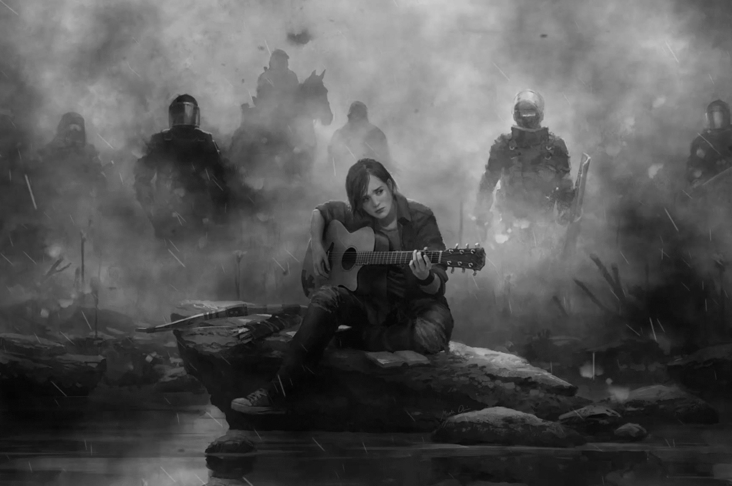 2560x1700 Ellie The Last Of Us Part 2 Guitar Monochrome Chromebook