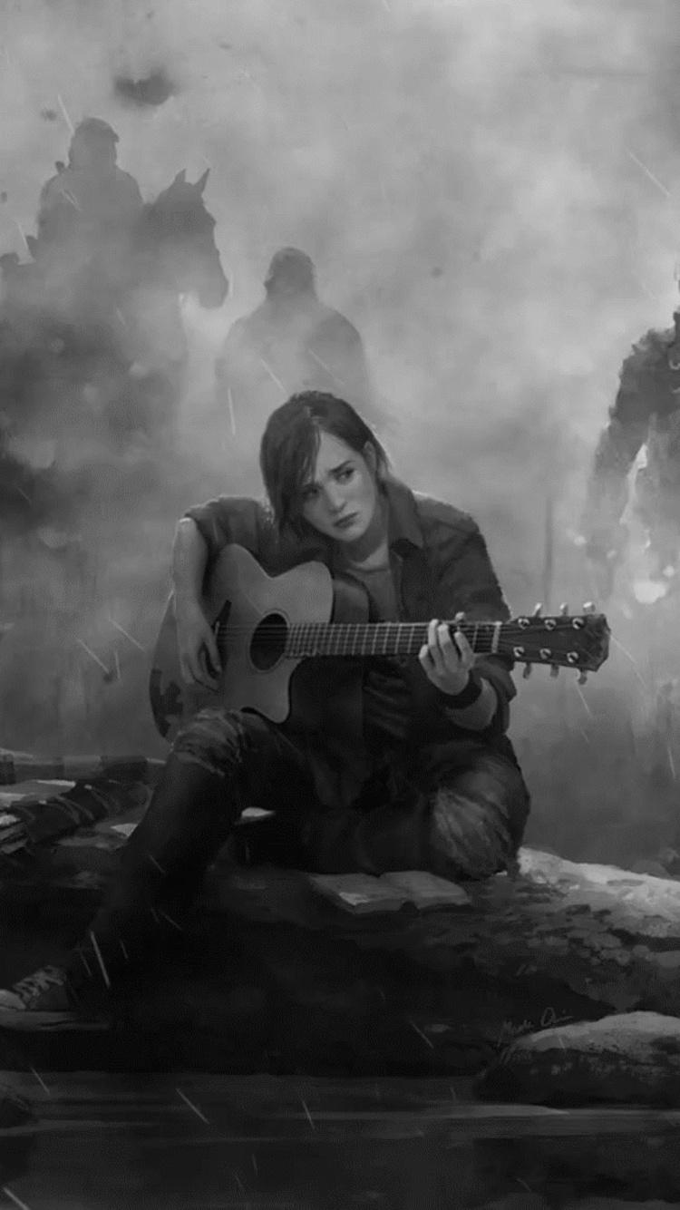750x1334 Ellie The Last Of Us Part 2 Guitar Monochrome Iphone 6