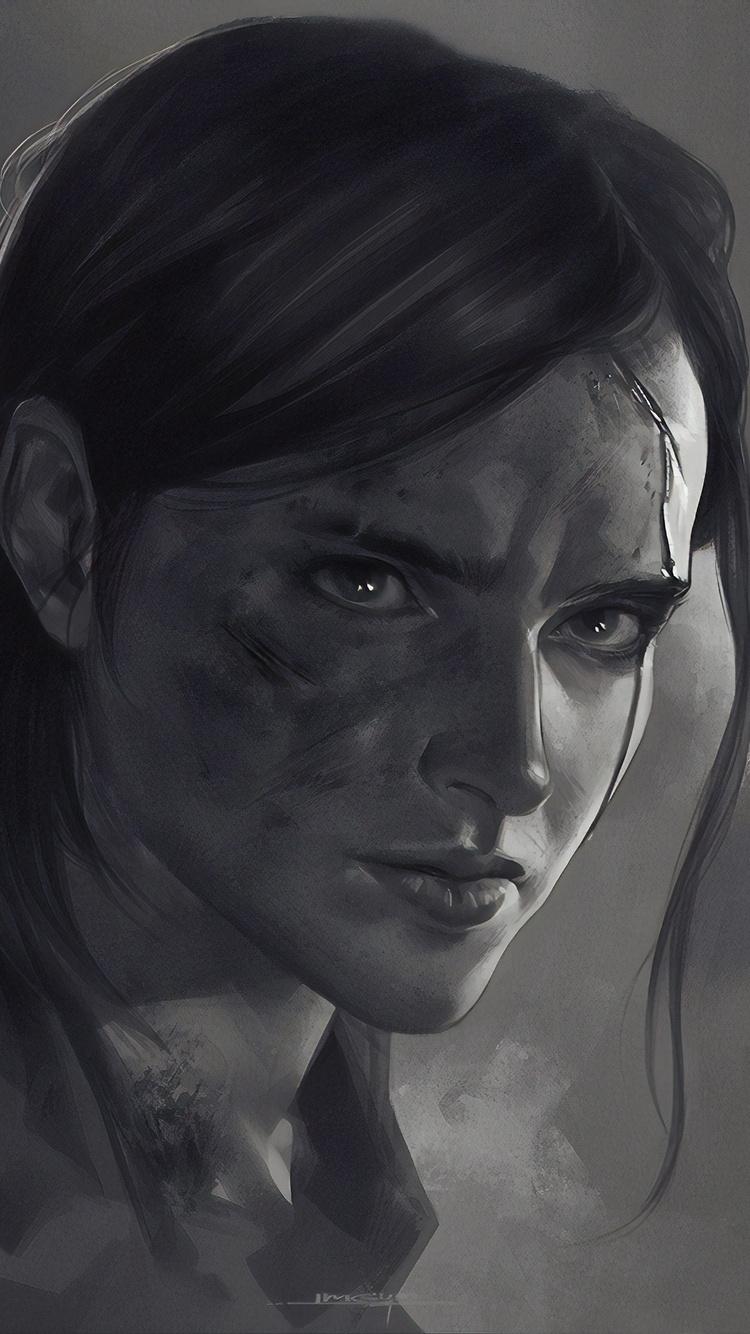 750x1334 Ellie The Last Of Us Part 2 Monochrome Poster 4k Iphone 6