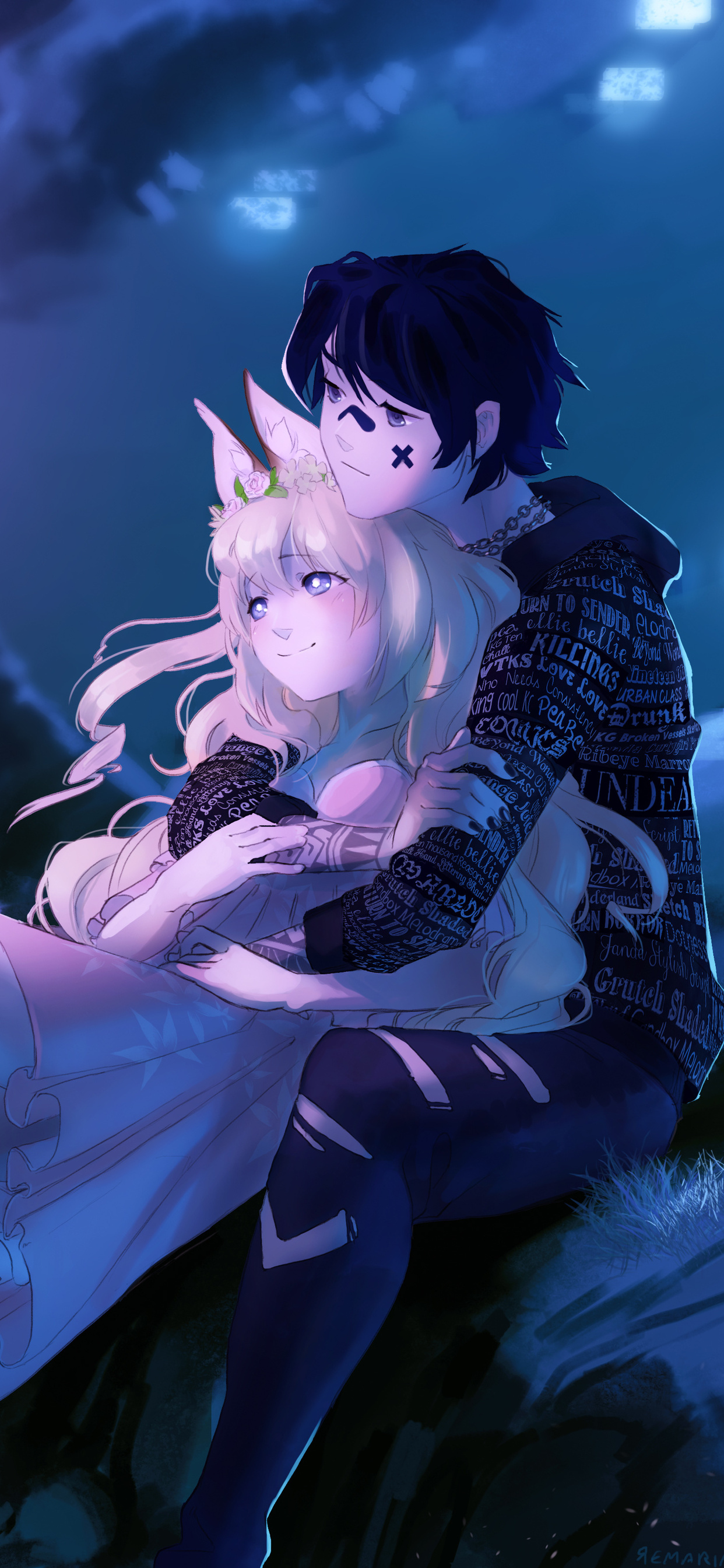 1242x2688 Embraced And Endeared Anime Couple 4k Iphone XS ...