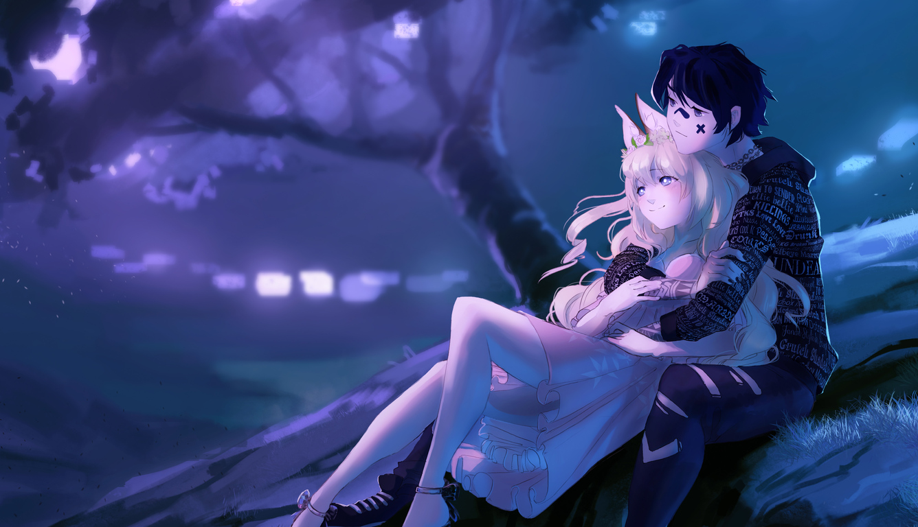 1336x768 Embraced And Endeared Anime Couple 4k Laptop Hd Hd 4k Wallpapers Images Backgrounds Photos And Pictures