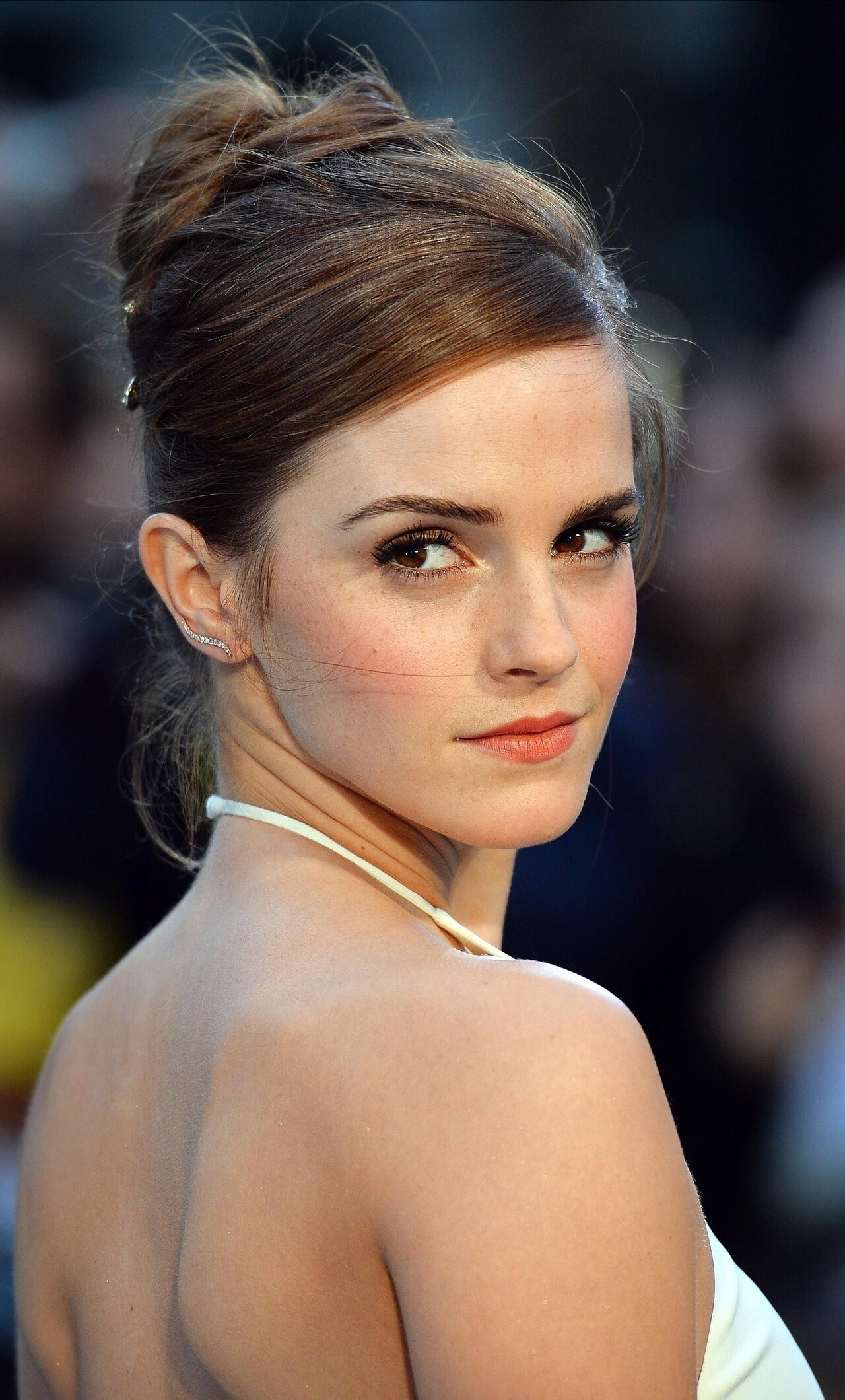 Emma Watson In White Dress Wide