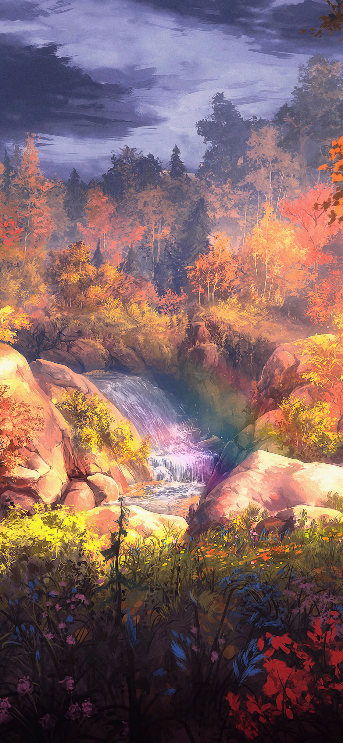 1125x2436 Fantasy Autumn Painting 4k Iphone Xs Iphone 10