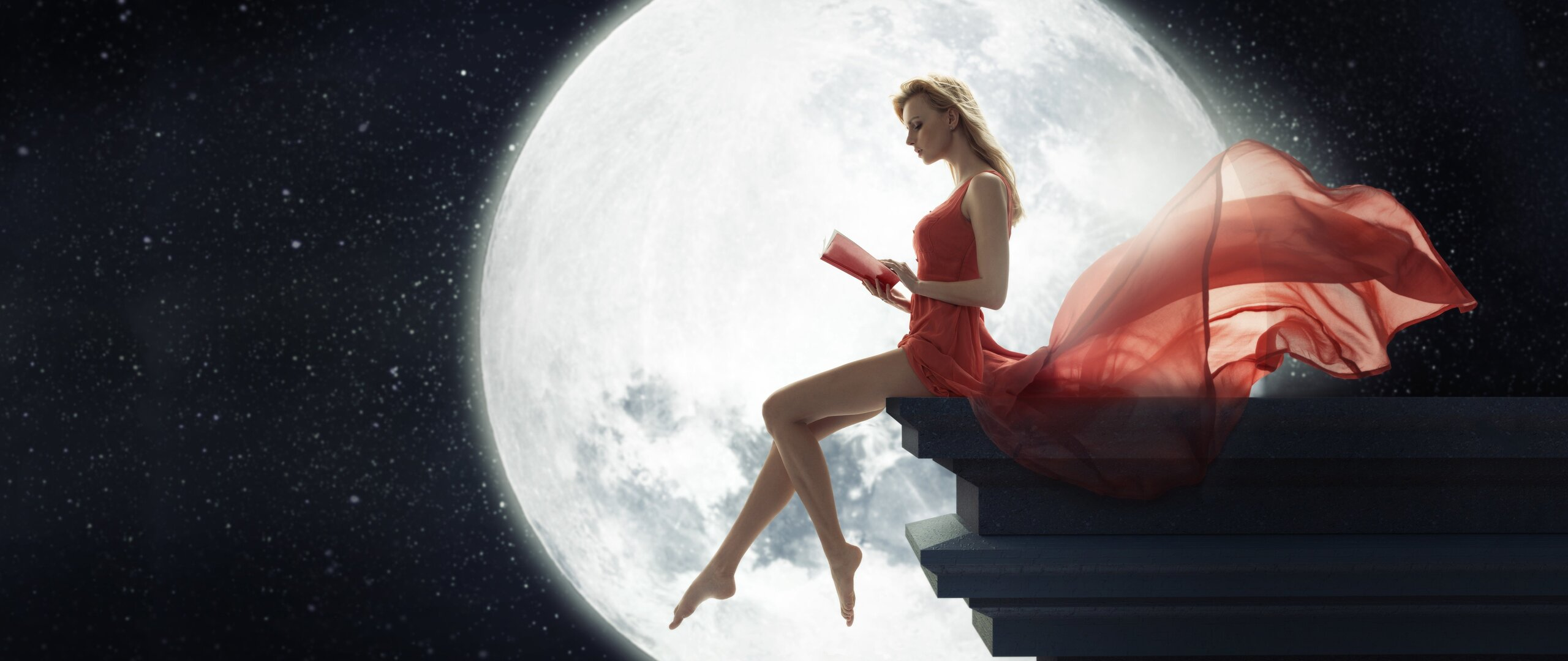 2560x1080 Fantasy Girl Sitting On Roof Reading Book Moon