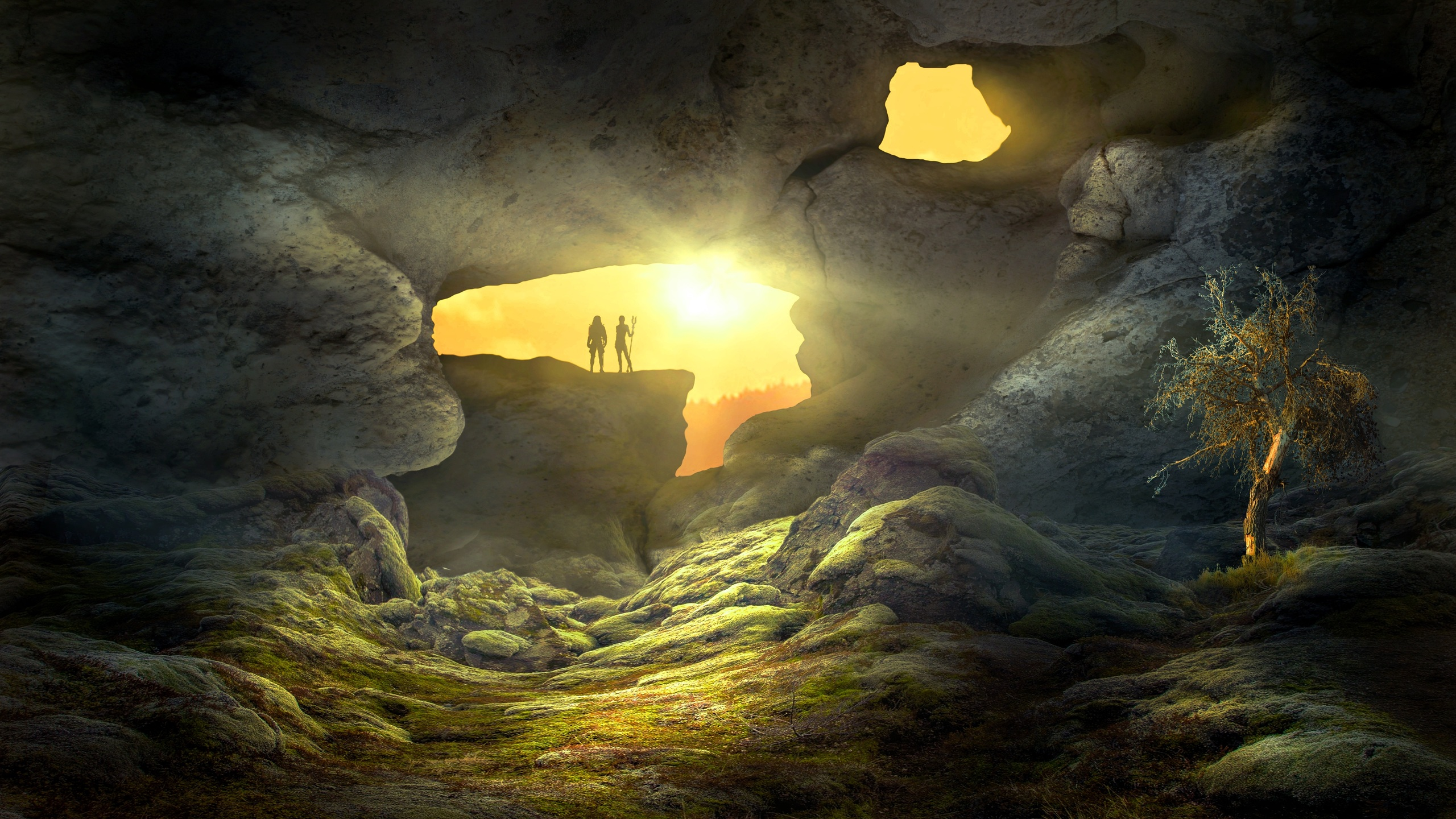 2560x1440 fantasy landscape cave human 1440p resolution hd 4k