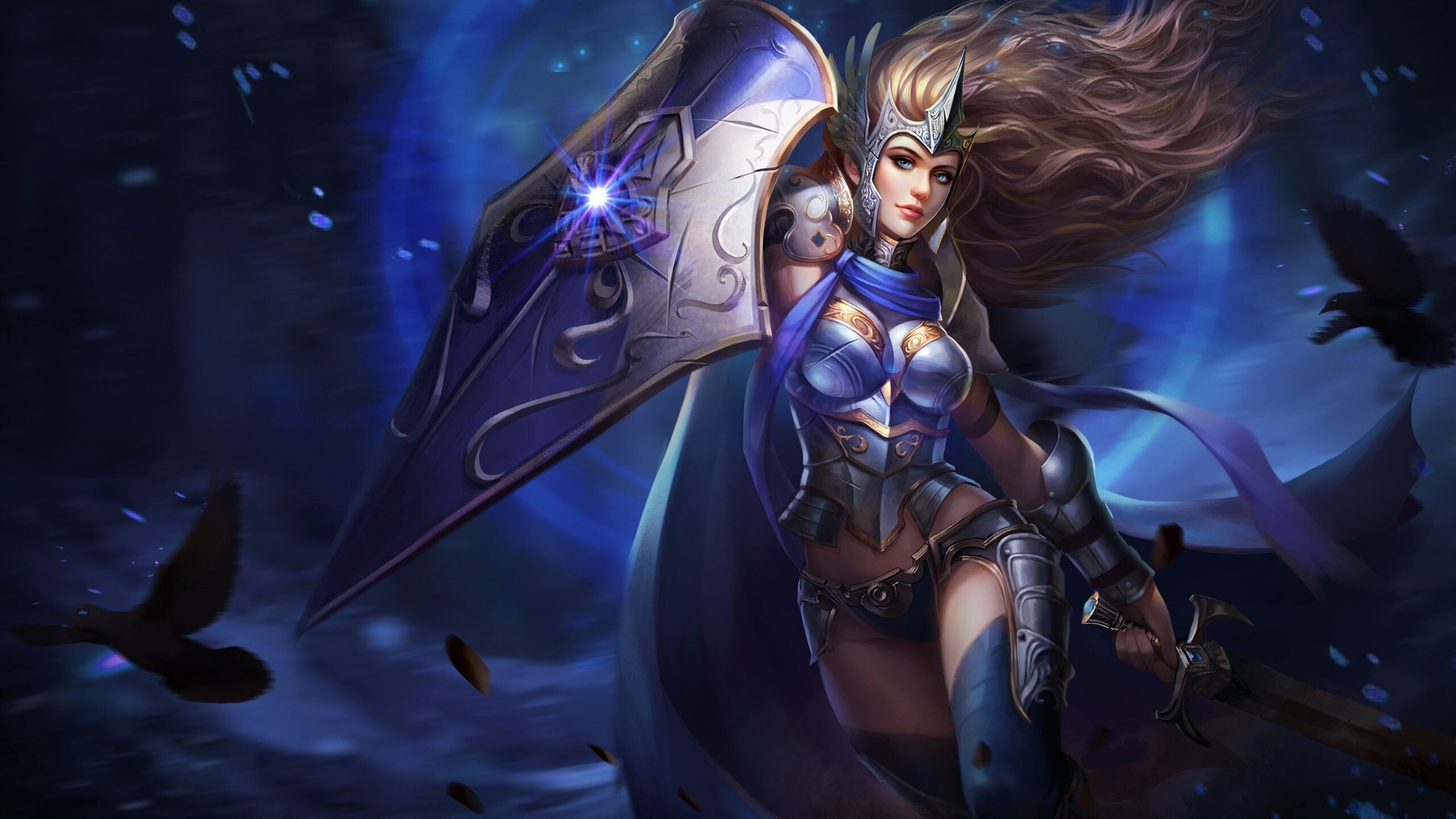 2560x1440 fantasy warrior girl with shield and sword 1440p