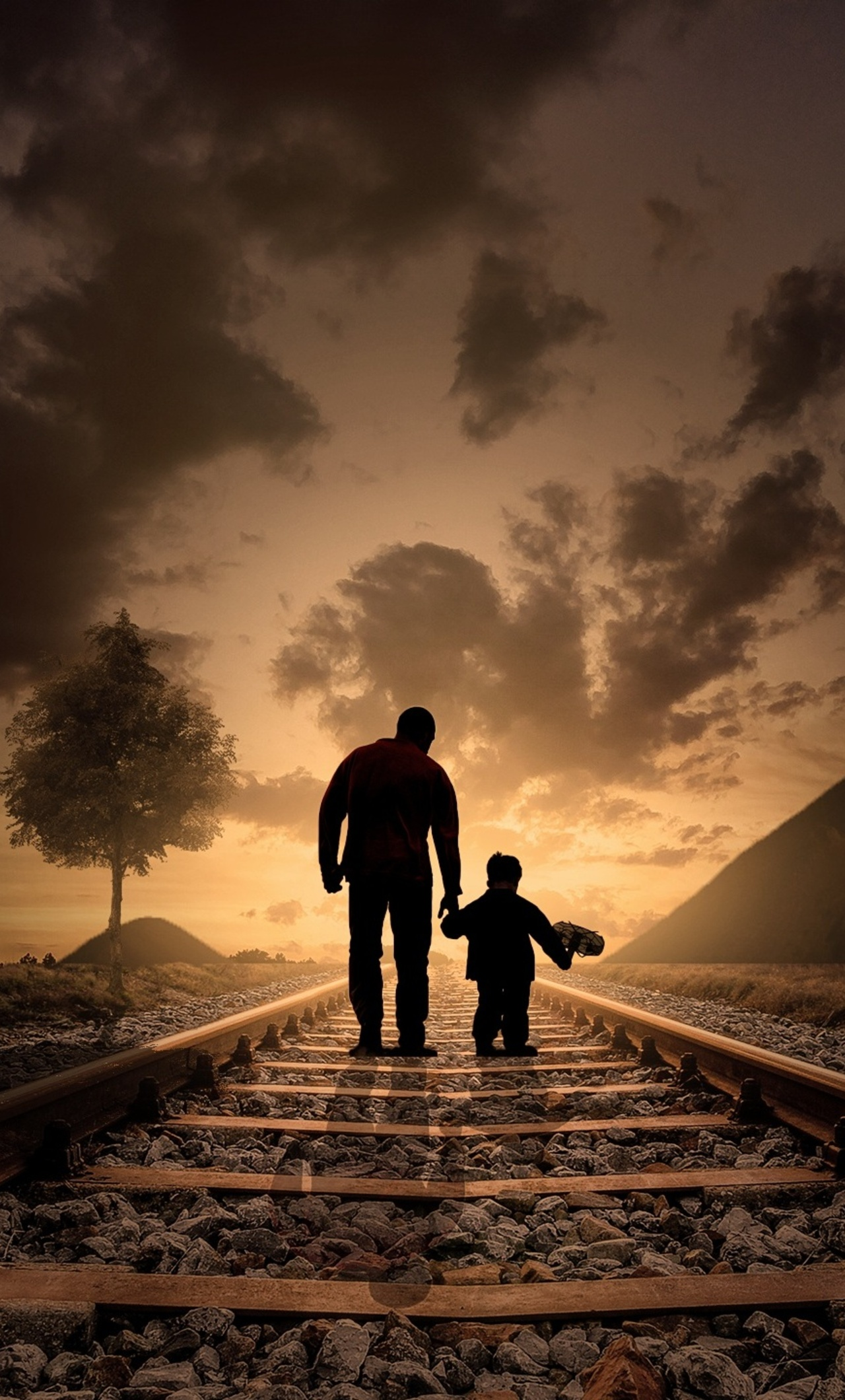 1280x2120 father son walking railraod iphone 6 hd 4k wallpapers