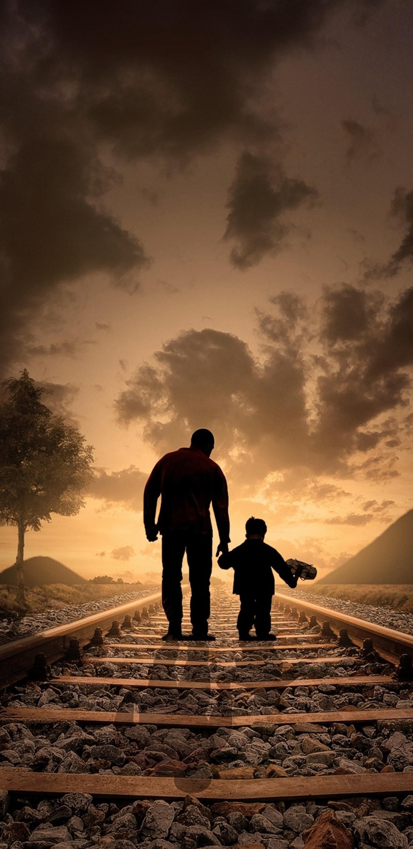 1440x2960 Father Son Walking Railraod Samsung Galaxy Note 9