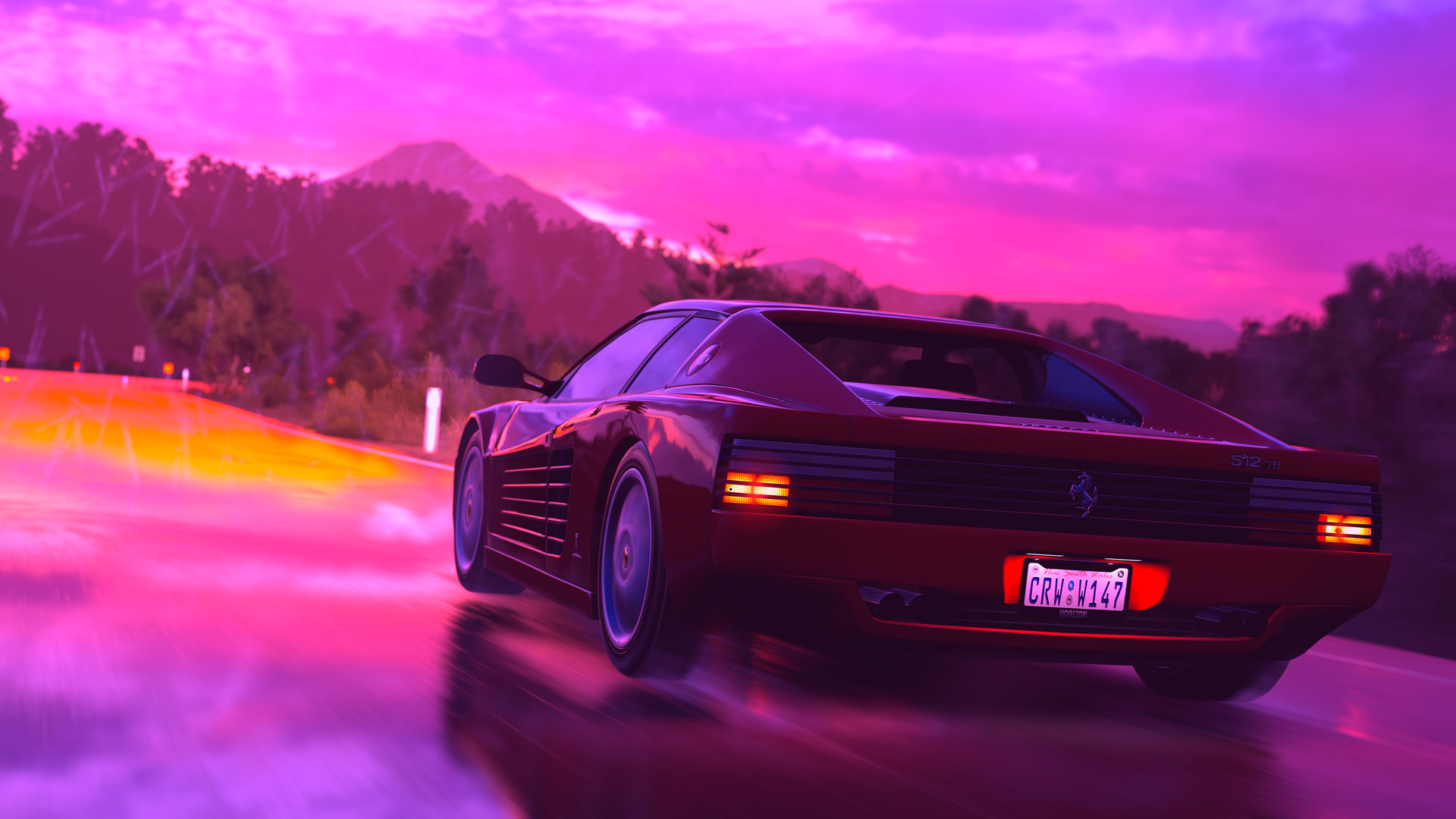 1920x1080 Ferrari Sports Car Retrowave Art 4k Laptop Full Hd 1080p
