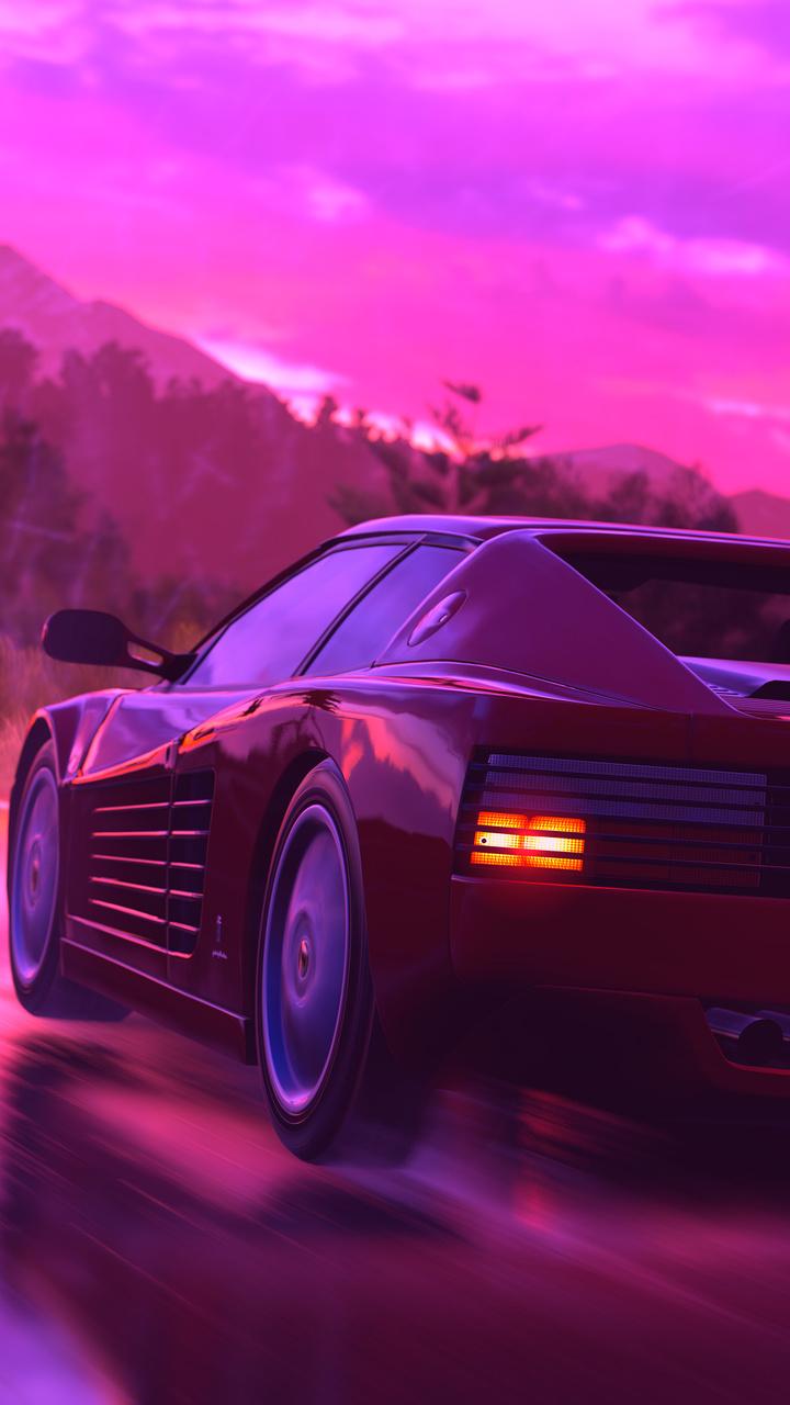 Ferrari Sports Car Retrowave Art 4k Km