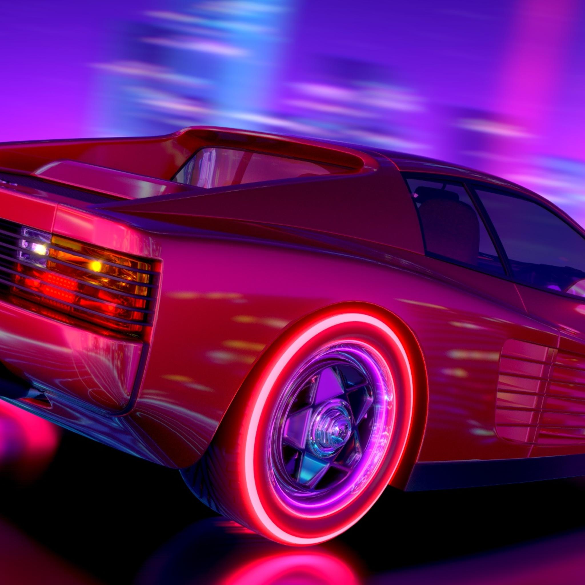 Car Hd Wallpapers 2560x1080: 2048x2048 Ferrari Testarossa Retrowave Ipad Air HD 4k